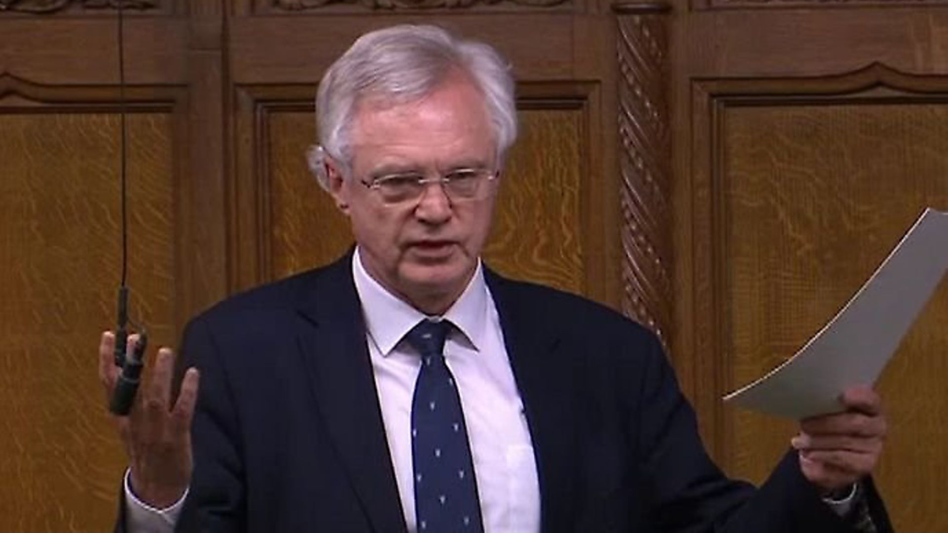 David Davis speaks in the House of Commons. Photograph: Parliament TV. - Credit: Archant