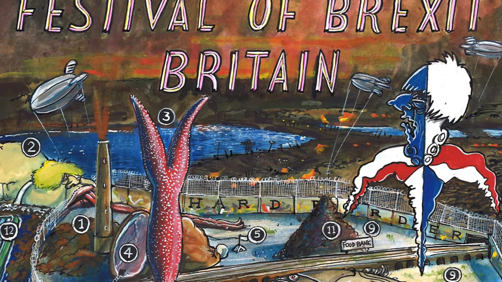 Martin Rowson's front page image focusing on the Festival of Brexit Britain - Credit: Archant