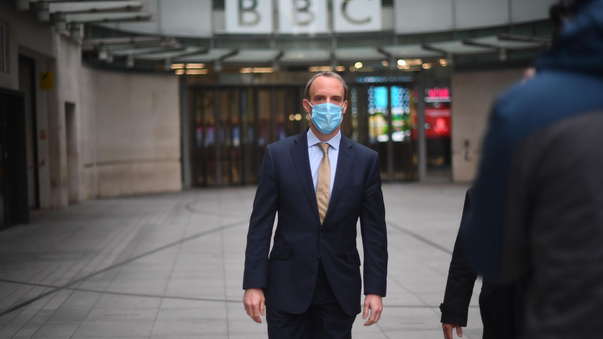 Foreign Secretary Dominic Raab speaks to the media outside BBC Broadcasting House in central London after his appearance on the BBC1 current affairs programme, The Andrew Marr Show. - Credit: PA
