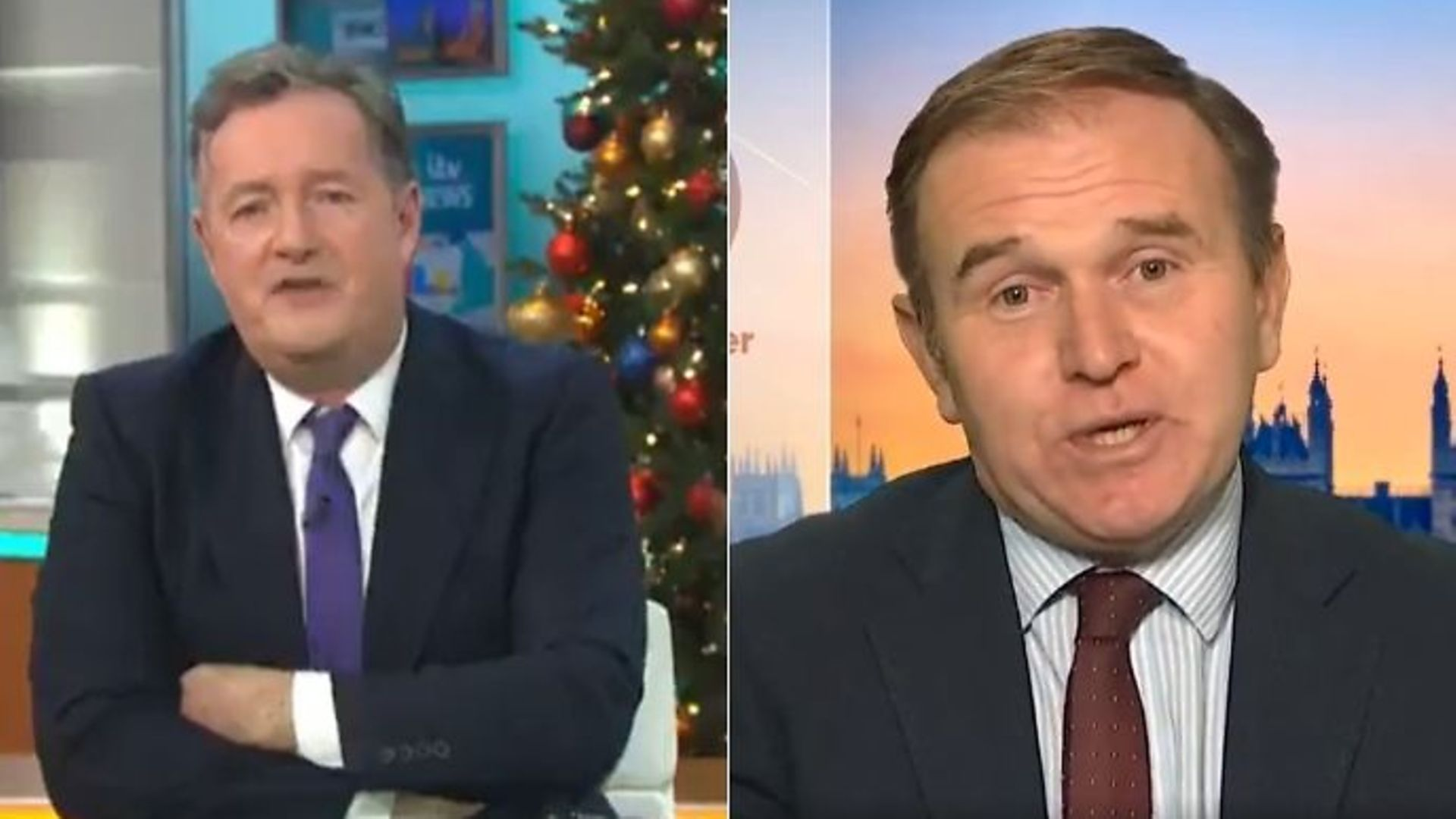 Cabinet minister George Eustice (R) has clashed with Piers Morgan after defended a six-month government boycott of Good Morning Britain - Credit: Twitter