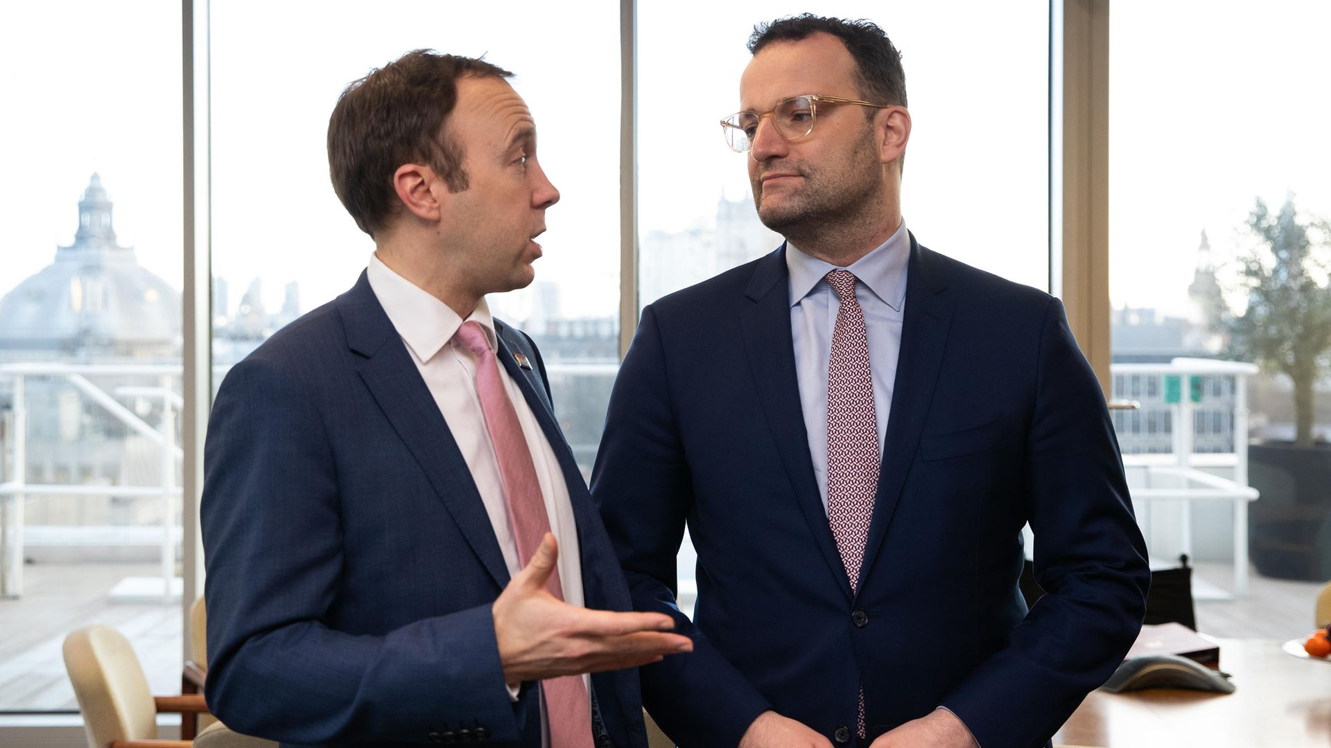 Health Secretary Matt Hancock (left) with German Health Minister Jens Spahn at the Department of Health, Westminster, London, ahead of a meeting about coordinating their response to the coronavirus - Credit: PA