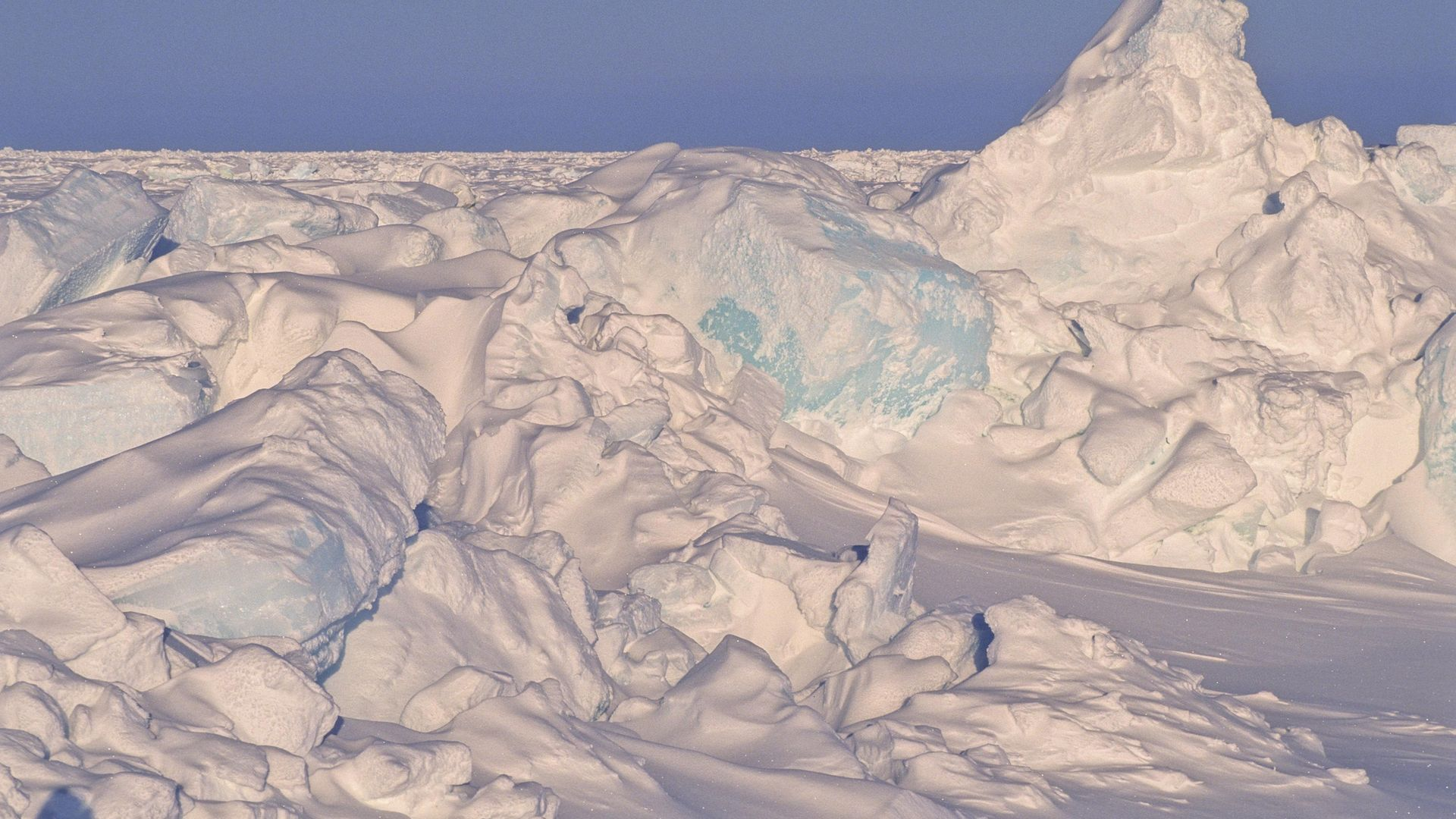 Compression crests of the ice pack close to the North Pole - Credit: Gamma-Rapho via Getty Images