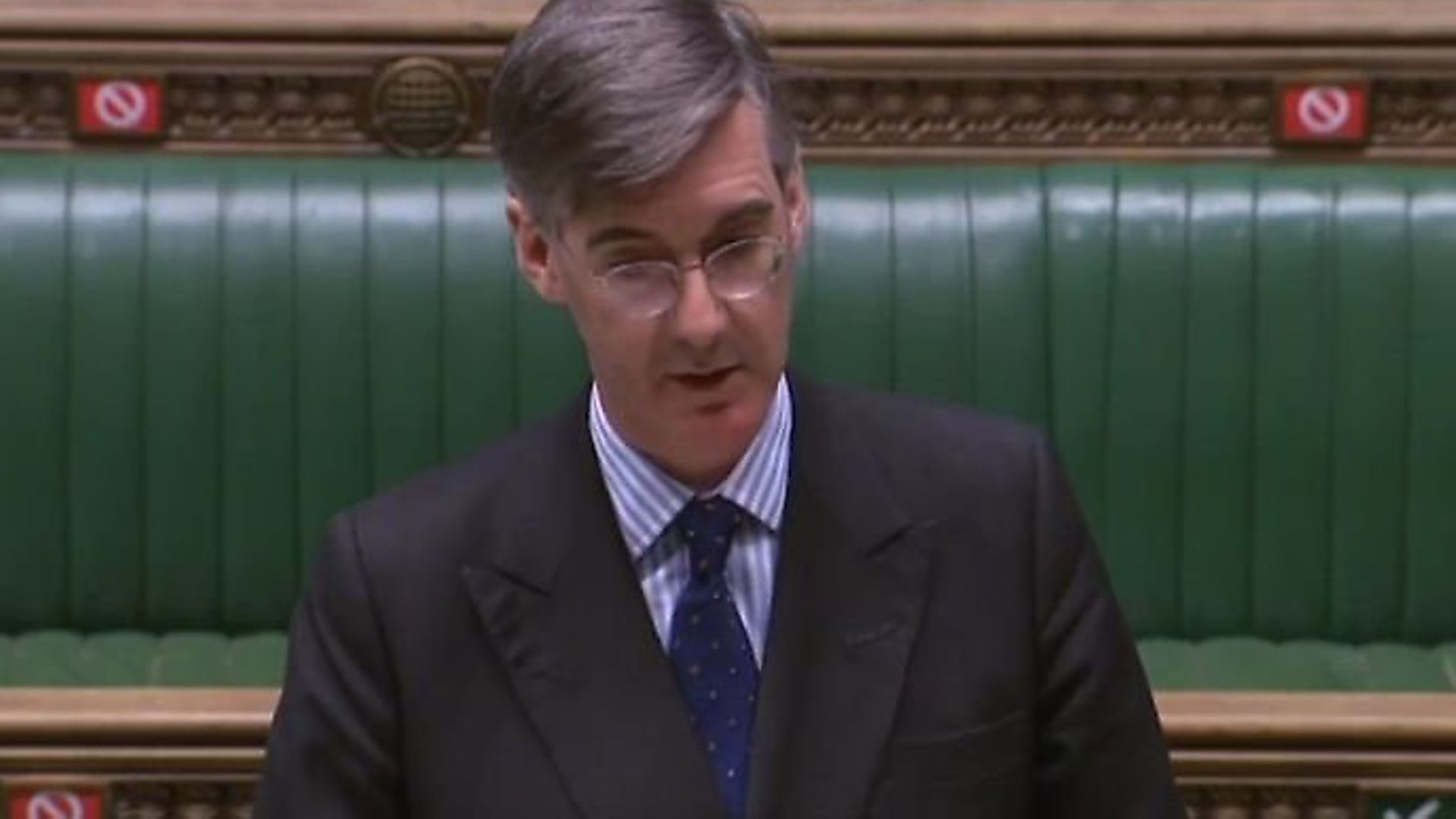 Jacob Rees-Mogg during a debate in the House of Commons. Photograph: Parliament TV. - Credit: Archant