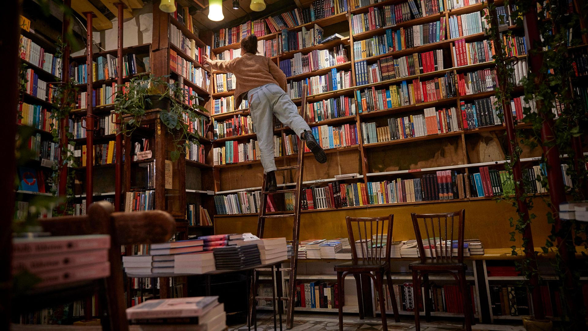 A staff member picks out a book for an order inside an otherwise deserted Shakespeare & Co, in Paris - Credit: Getty Images
