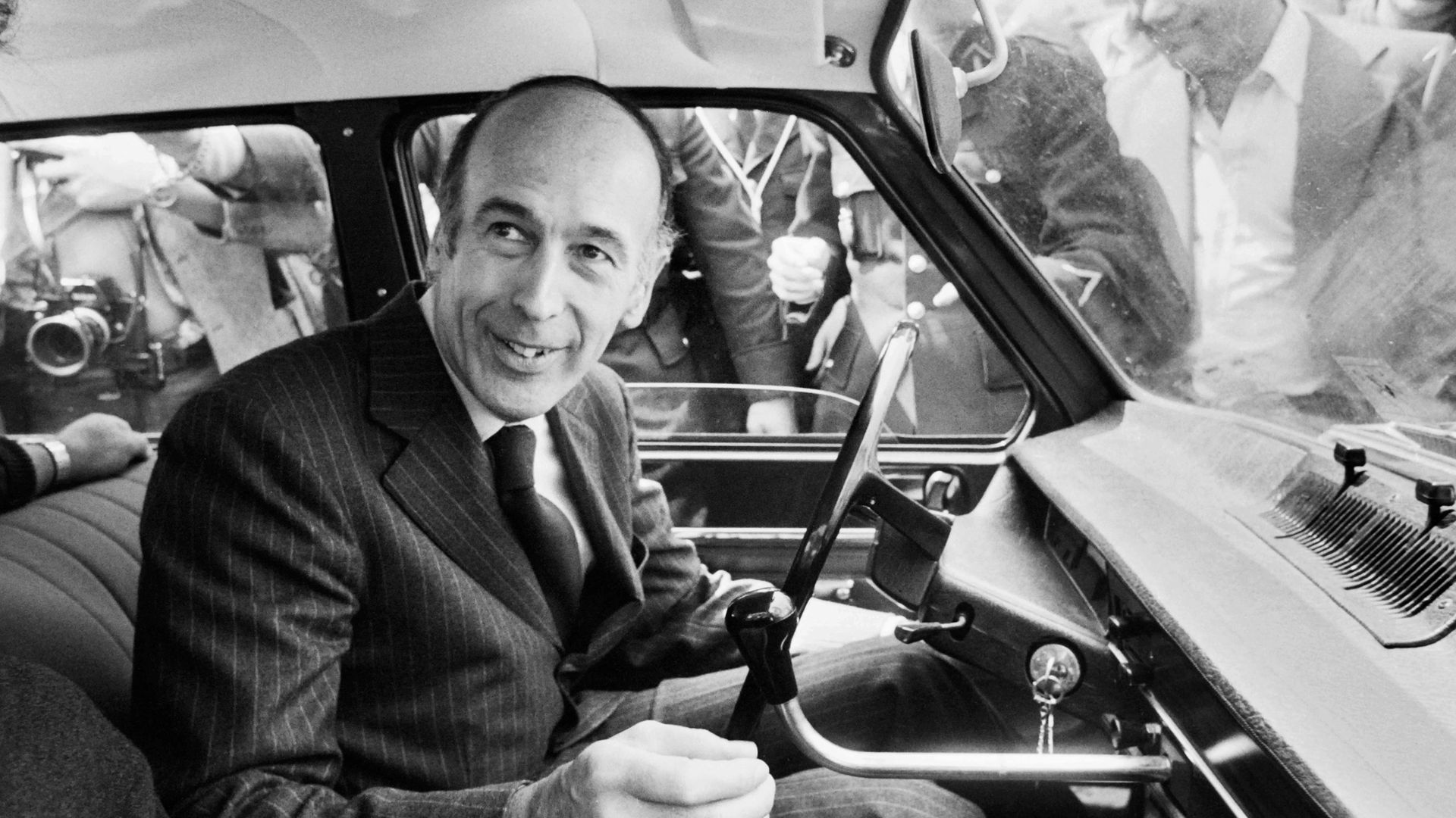 Valery Giscard d'Estaing in his car after voting in the second round of the 1974 presidential election, which he won - Credit: AFP via Getty Images