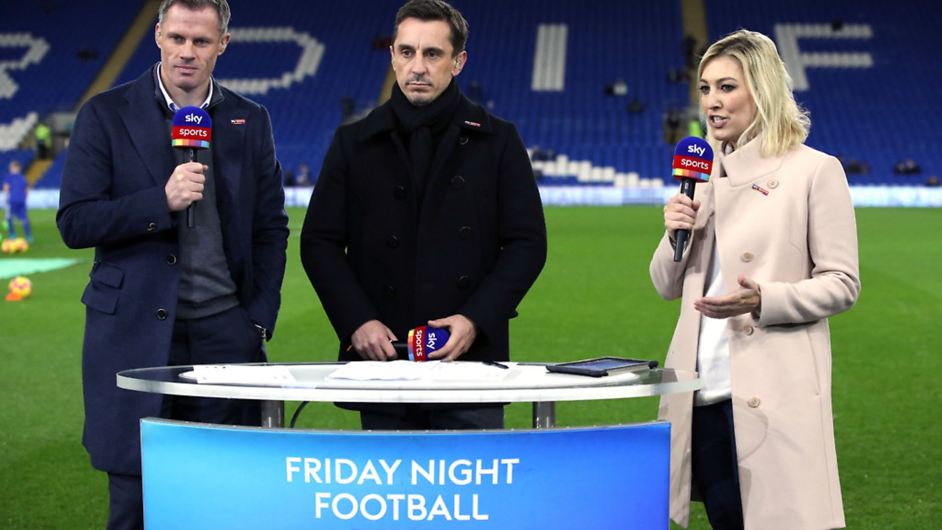 Sky Sports pundits Jamie Carragher (left) and Gary Neville (centre) alongside presenter Kelly Cates. Photograph: Nick Potts/PA. - Credit: PA Archive/PA Images