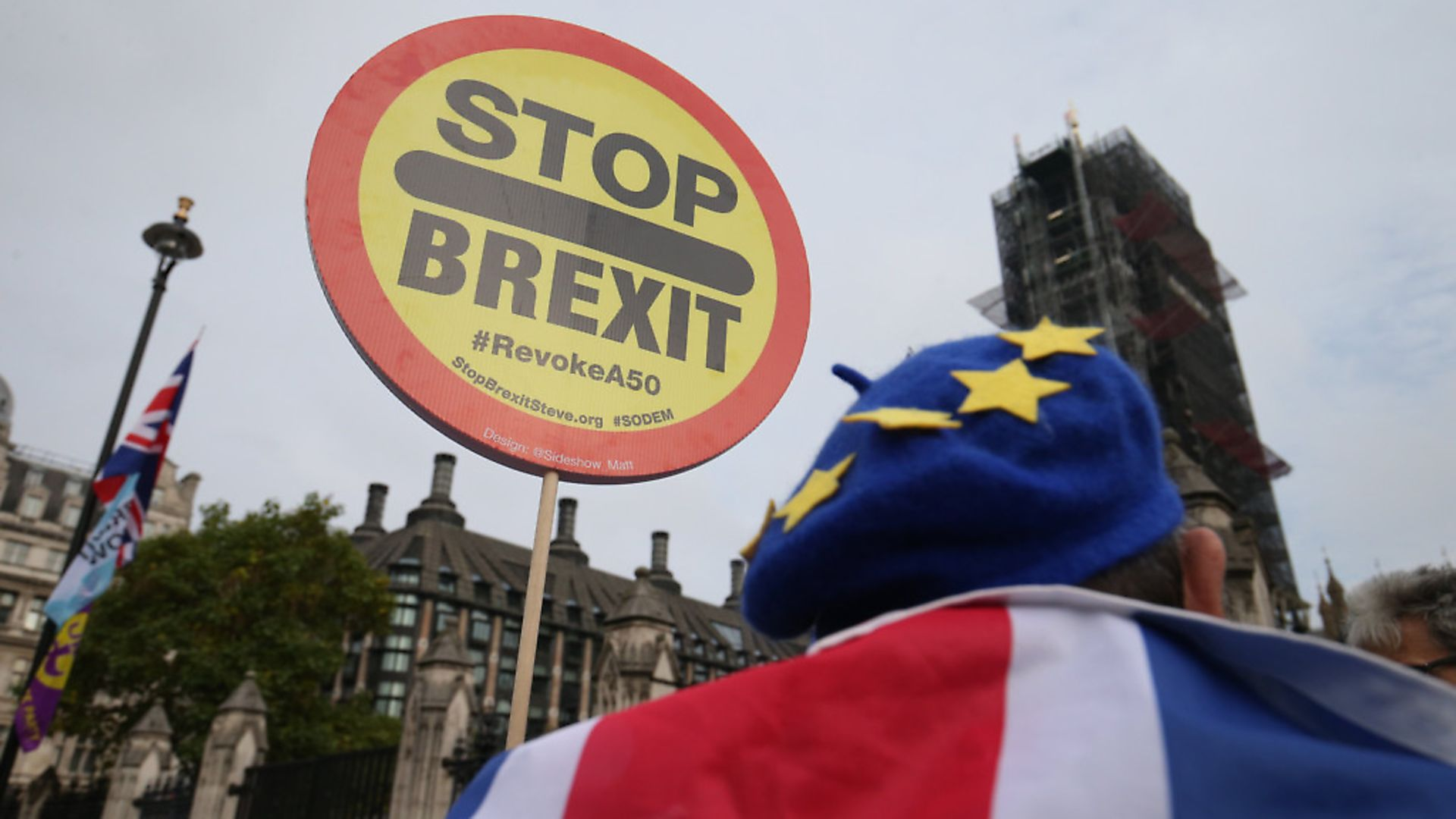 Anti-Brexit demonstrator outside the Houses of Parliament. Photograph: Jonathan Brady/PA. - Credit: PA Wire/PA Images