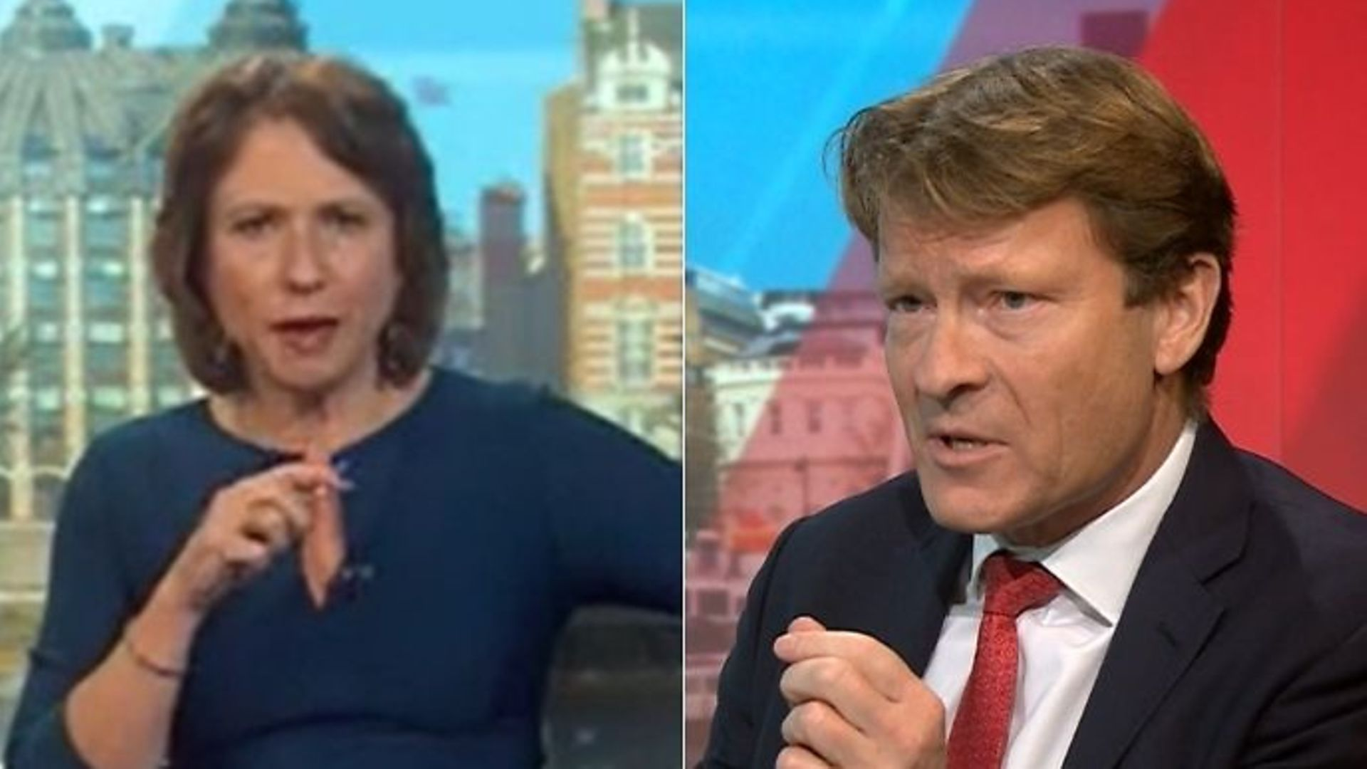 Politics Live host Jo Coburn (L) and Brexit Party chairman Richard Tice - Credit: BBC