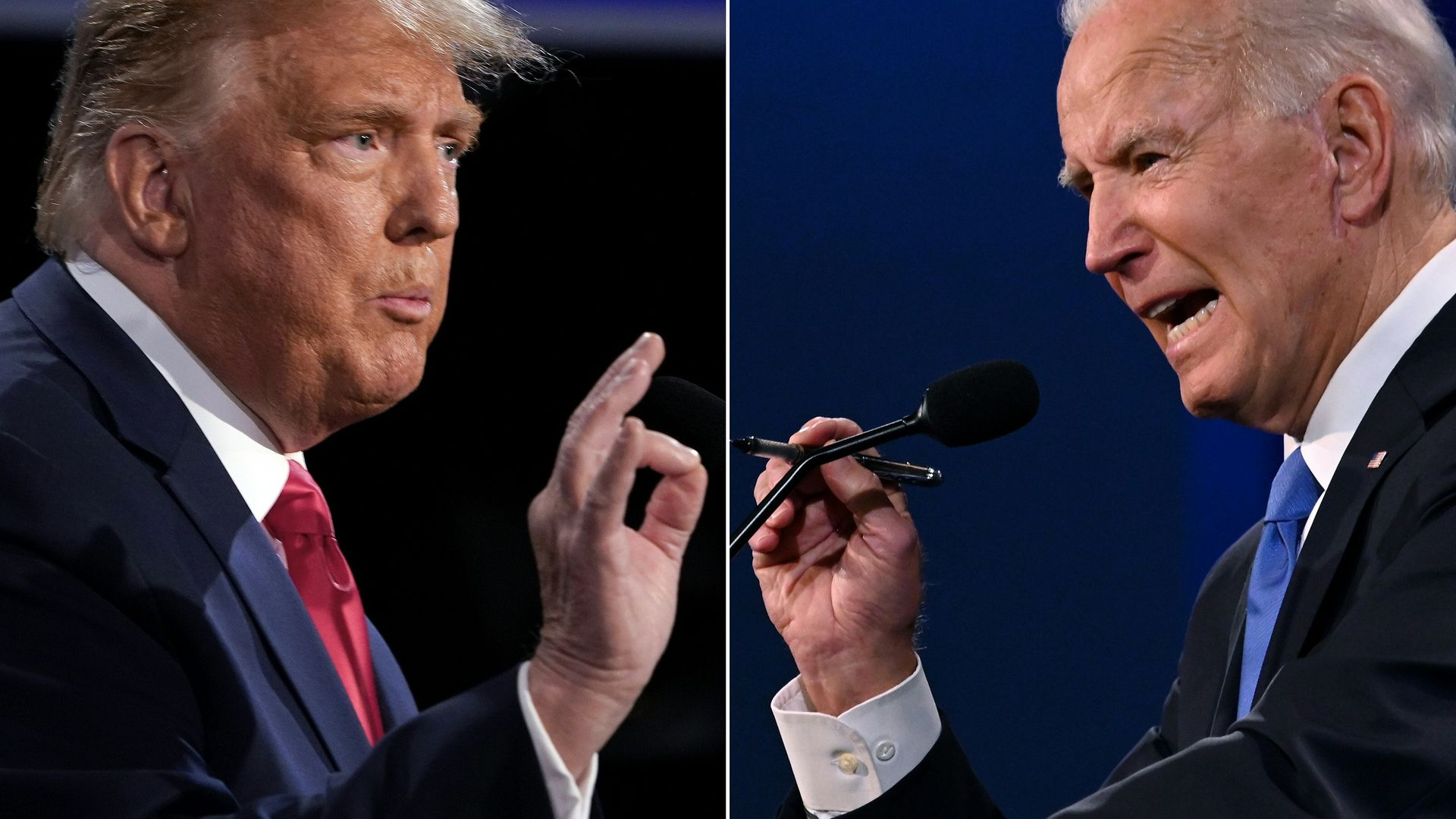 US president Donald Trump (L) and president-elect Joe Biden during the final presidential debate at Belmont University in Nashville, Tennessee - Credit: AFP via Getty Images