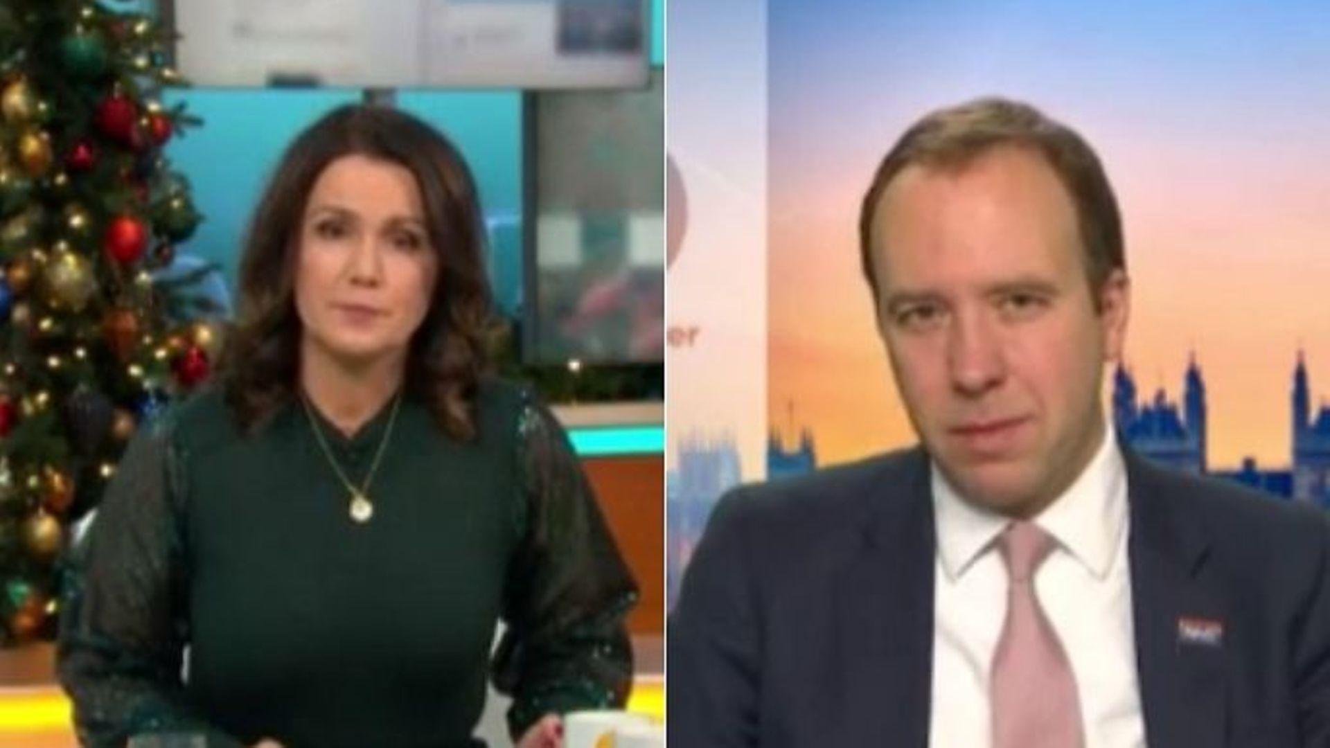 Susanna Reid interviews Matt Hancock about the Covid-19 vaccine on Good Morning Britain - Credit: ITV