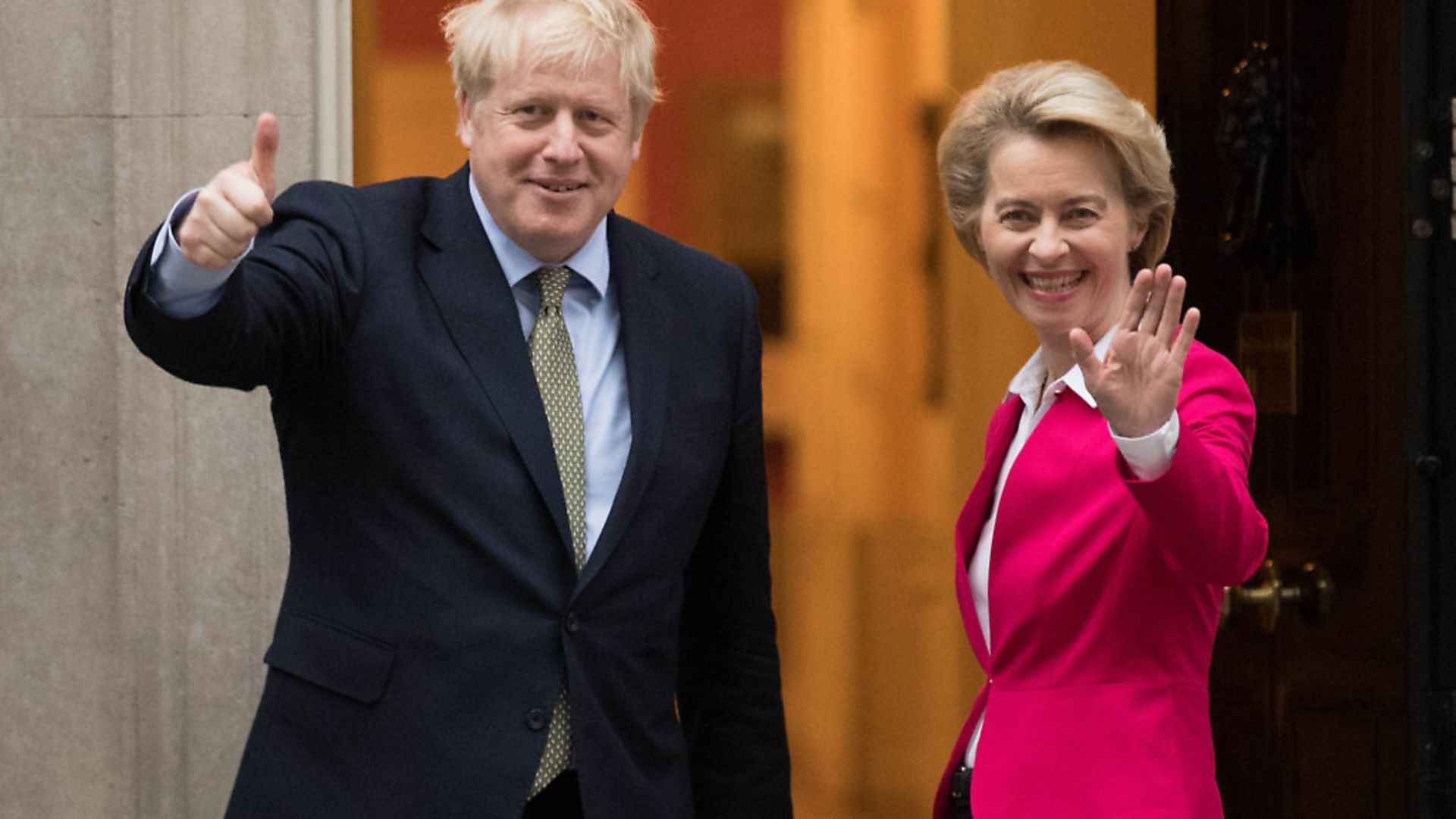 Prime Minister Boris Johnson greets EU Commission president Ursula von der Leyen ahead of a meeting in Downing Street. Photograph: Stefan Rousseau/PA. - Credit: PA