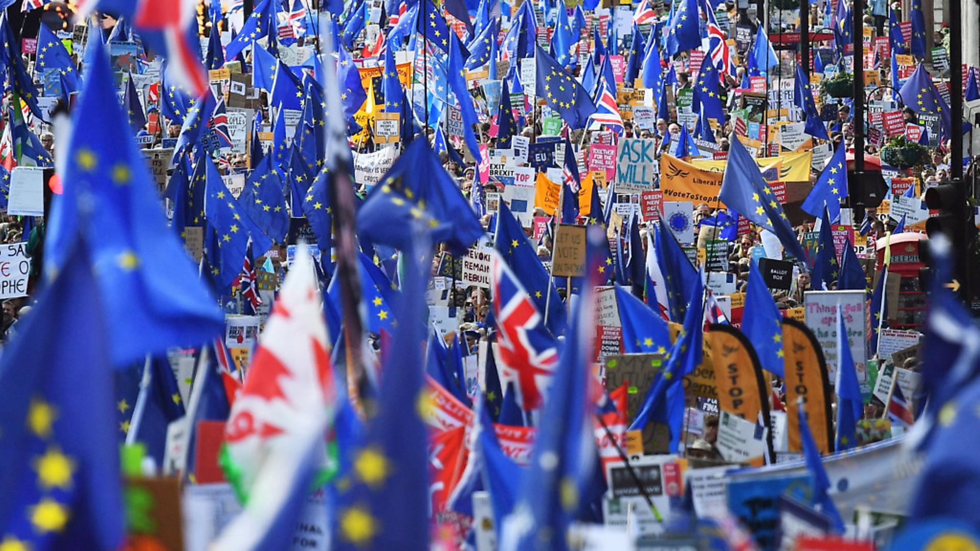 Campaigners at the People's Vote march in London as MPs vote on Boris Johnson's Brexit deal. Photograph: Victoria Jones/PA. - Credit: PA Wire/PA Images