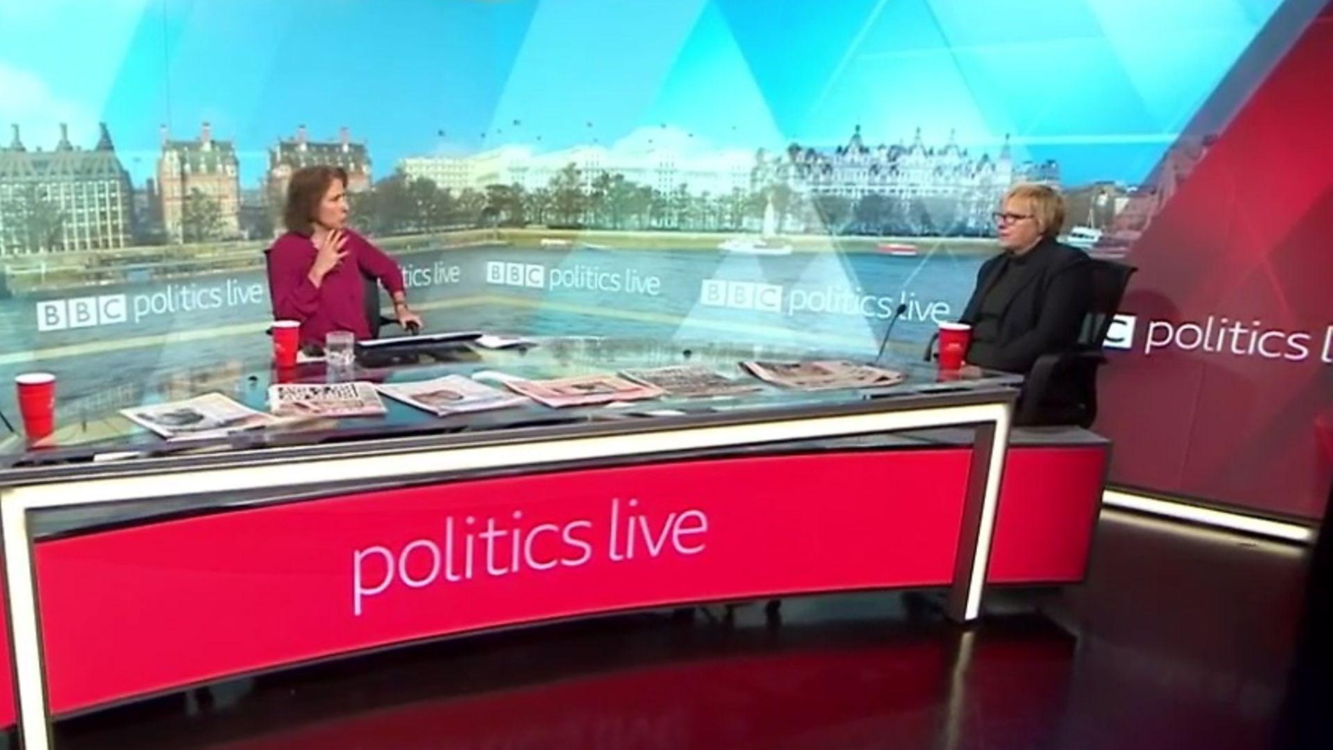 Angela Eagle MP and Jo Coburn disagree over Boris Johnson's Brexit pledge on Politics Live - Credit: BBC
