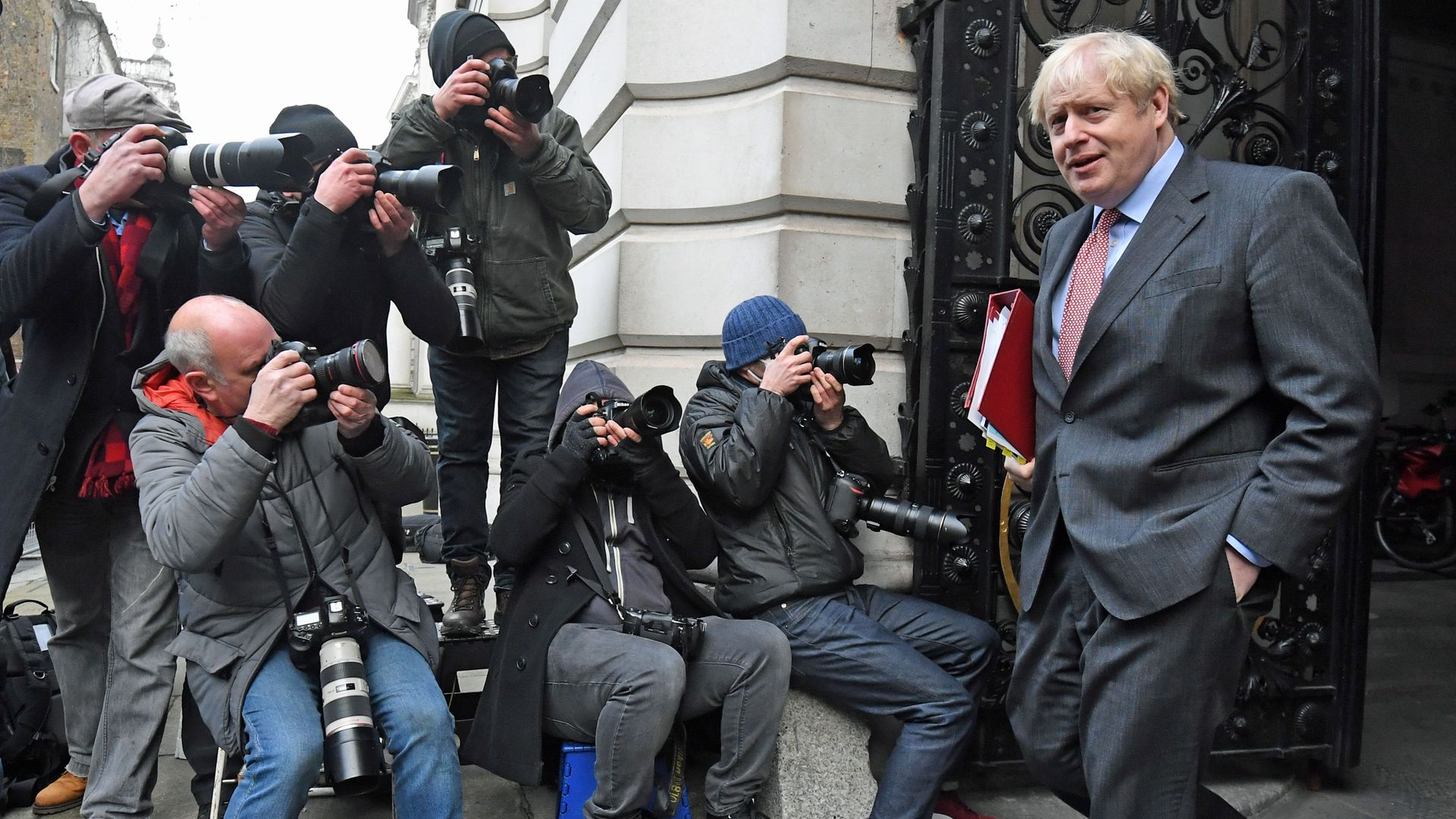 Prime minister Boris Johnson in Downing Street, London, after leaving a Cabinet meeting at the Foreign and Commonwealth Office (FCO). - Credit: PA