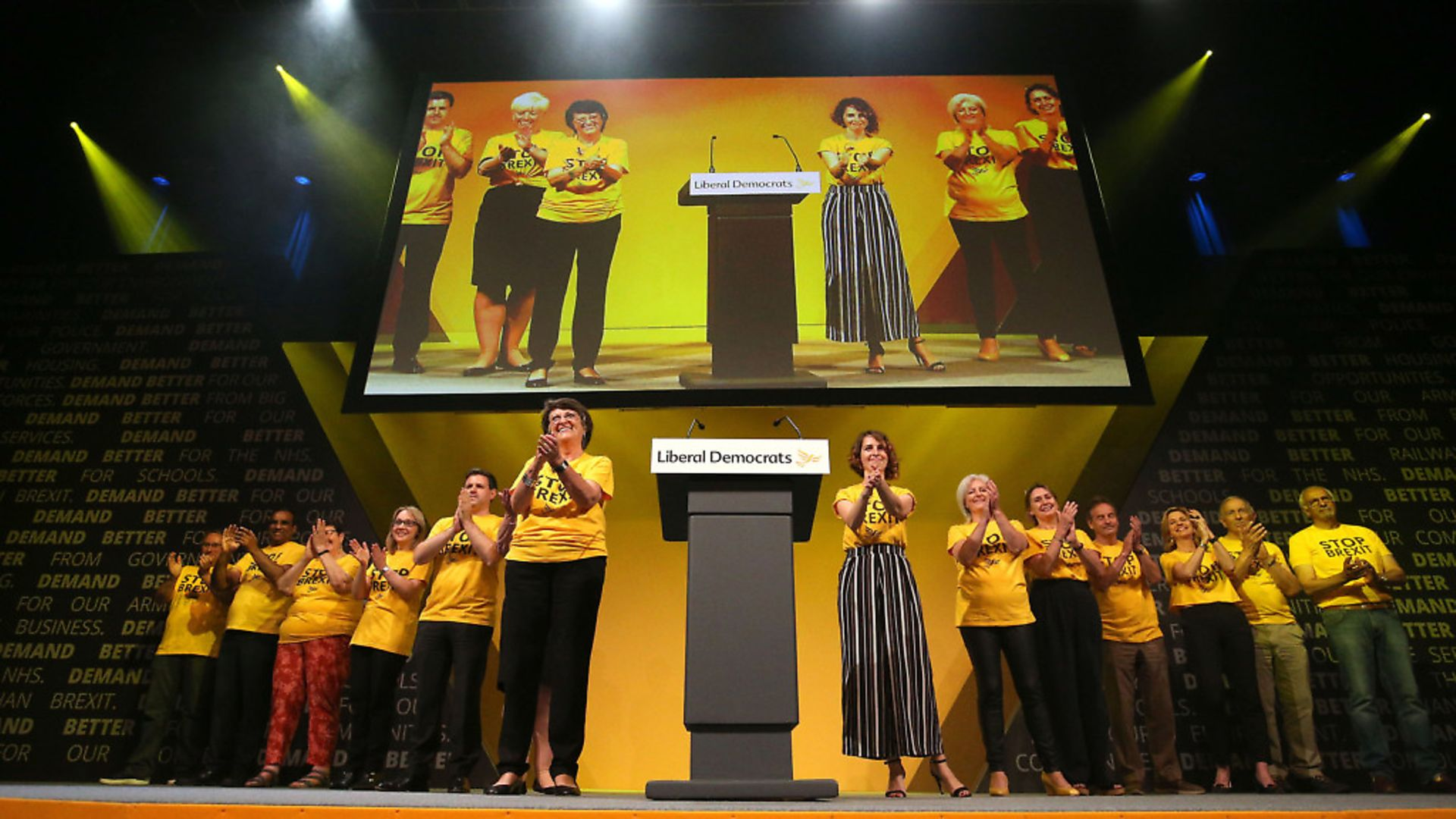 Lib Dem MEPs on stage at the Liberal Democrats conference. Photograph: Jonathan Brady/PA. - Credit: PA Wire/PA Images