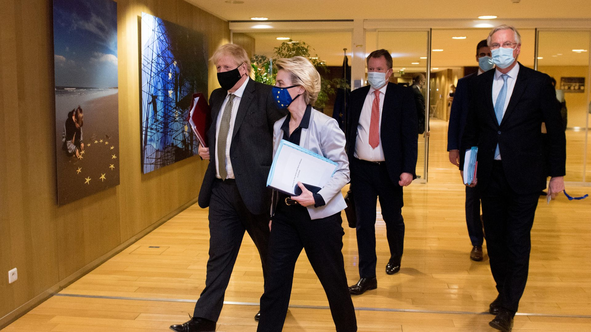 Prime Minister Boris Johnson, European Commission president Ursula von der Leyen, Lord David Frost and Michel Barnier in Brussels where they have agreed the UK and EU will continue talks on a post-Brexit trade deal. - Credit: PA