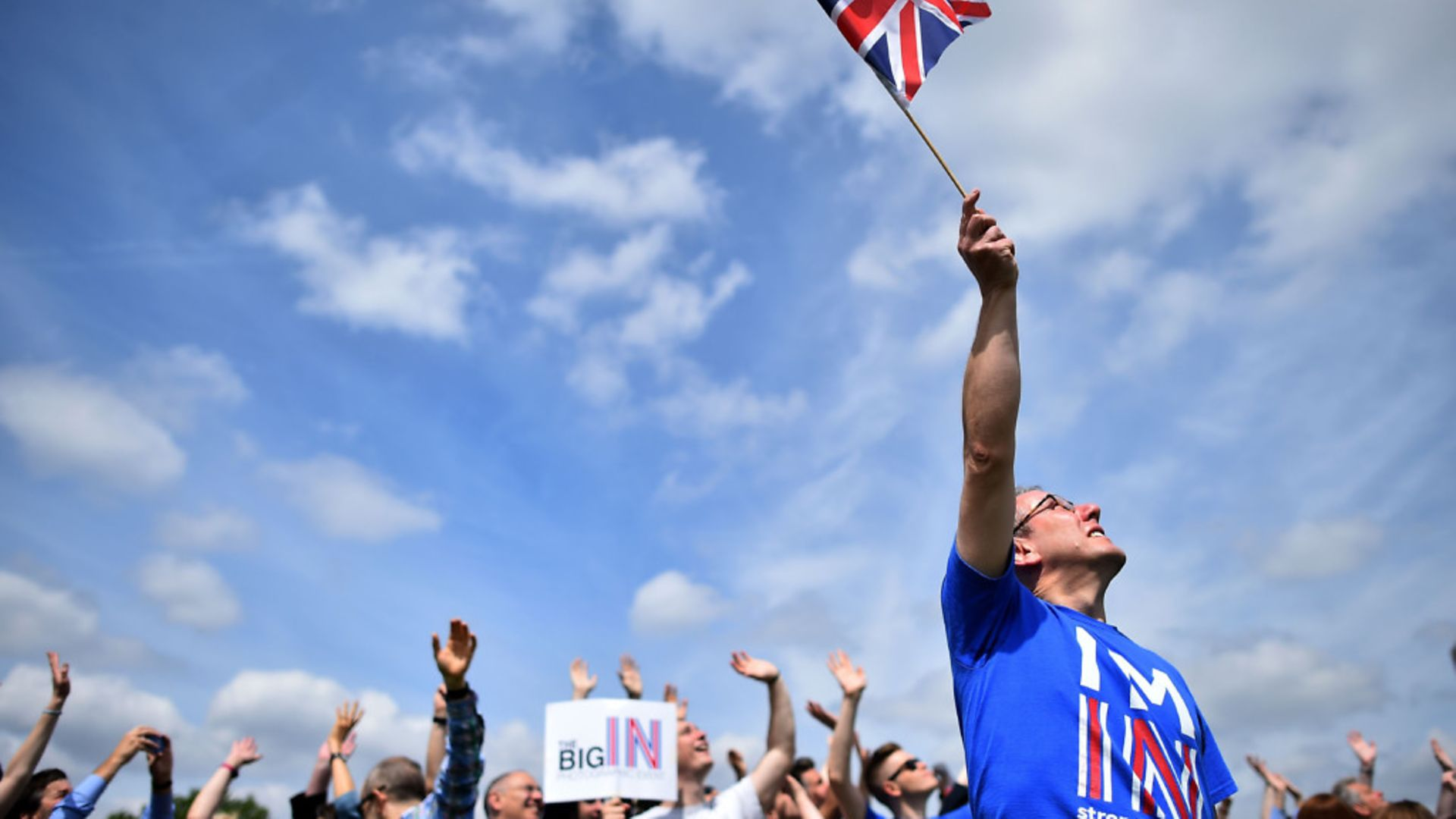 Pro-European campaigners at a rally - Credit: BEN STANSALL/AFP/Getty Images