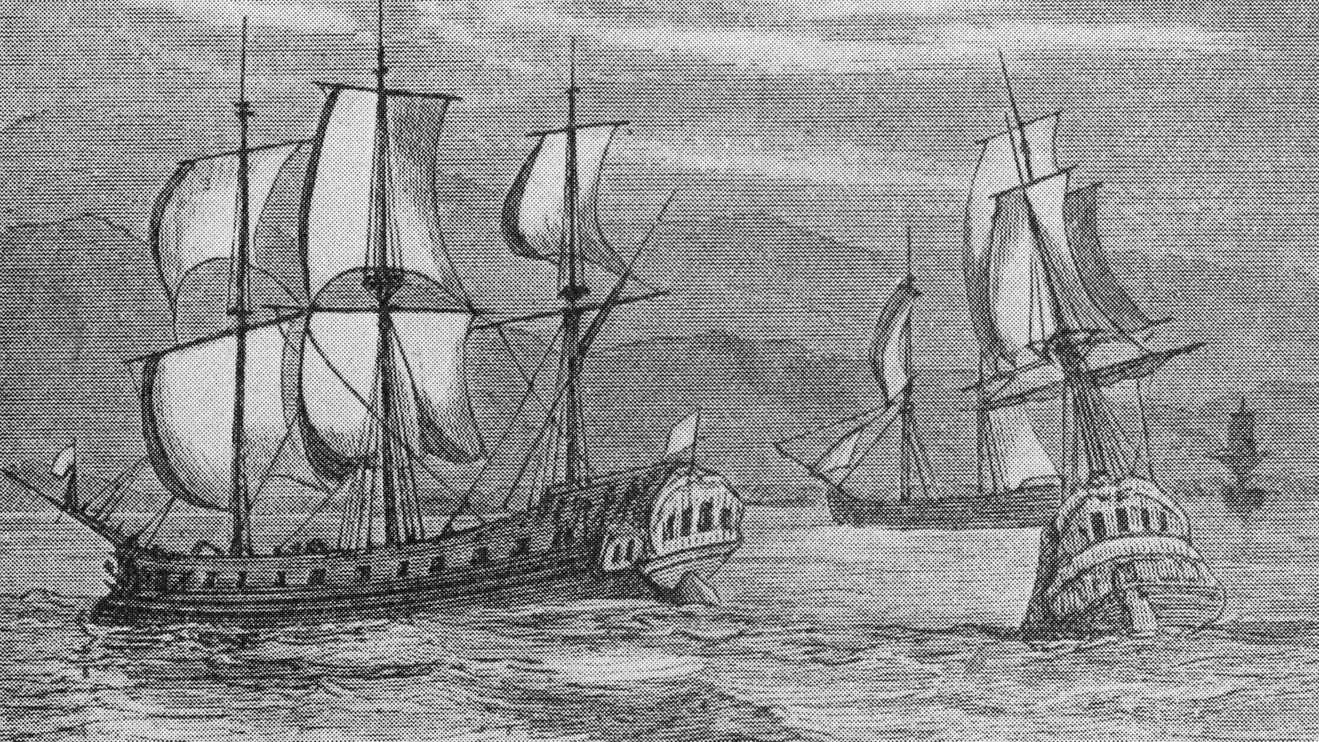 Some of the First Fleet, the ships which took British convicts to Botany Bay, where they established the first European settlement in Australia, 1788 - Credit: Getty Images