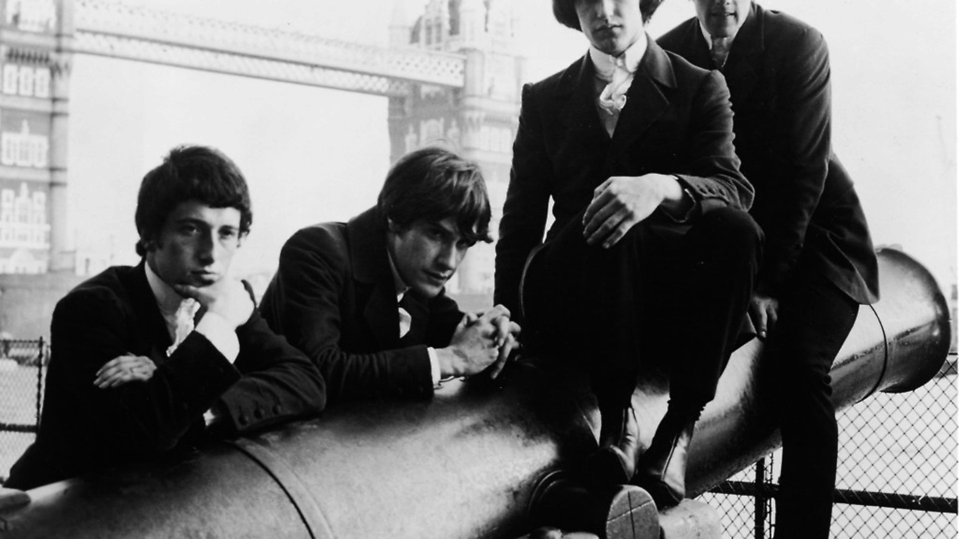 The Kinks, (L-R)  Peter Quaife, Ray Davies, Dave Davies, and Mick Avory in London, England, 1966. Photo: Reprise Records/Warner Bros./Courtesy of Getty Images - Credit: Getty Images