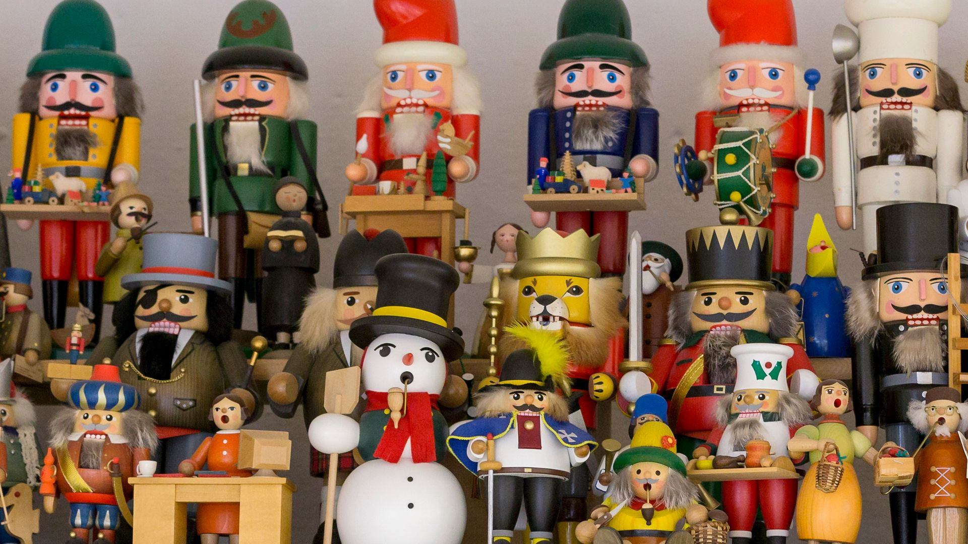 Traditional hand-made wooden nutcracker figures in Seiffen, Germany - Credit: Getty Images