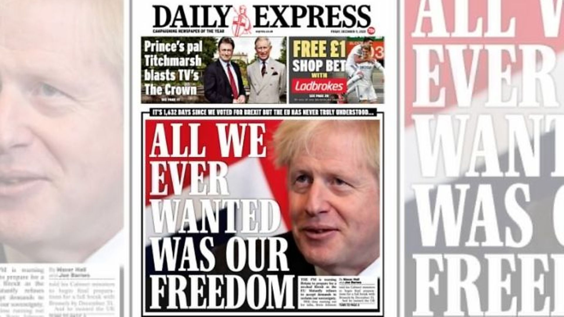 The Daily Express' front cover - Credit: Twitter