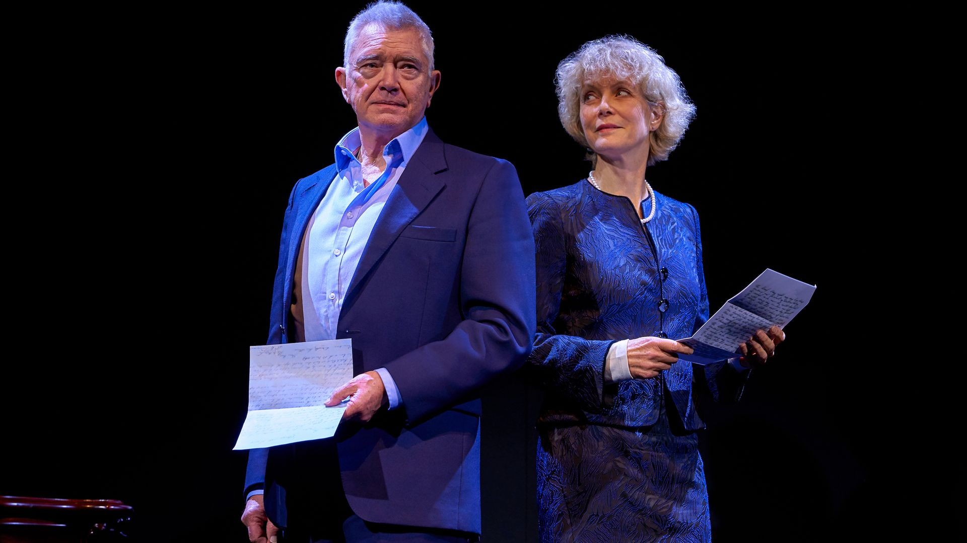 Martin Shaw and Jenny Seagrove in Love Letters at the Theatre Royal Haymarket - Credit: PAUL COLTAS