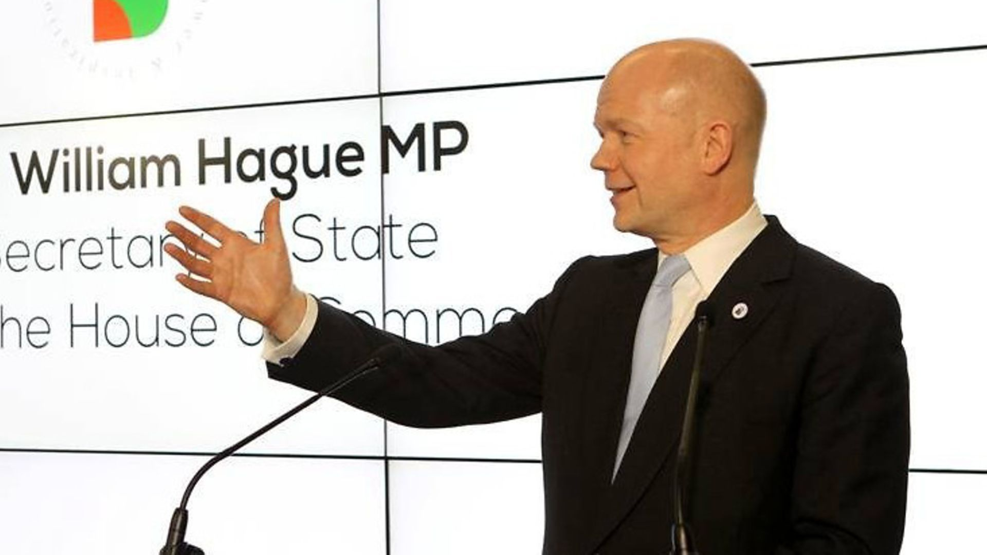 William Hague delivers a speech. - Credit: PA
