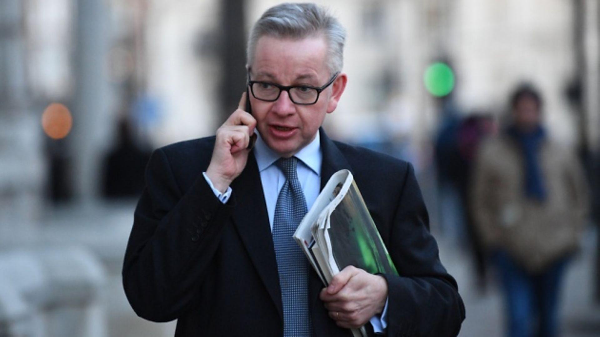 Cabinet minister Michael Gove in Whitehall. Photograph: Victoria Jones/PA.