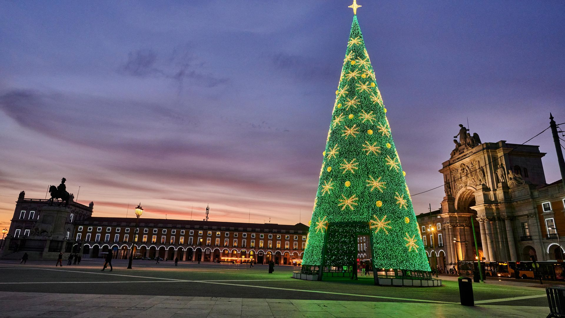 An almost deserted Praca do Comercio. The prospect of travel is one of the causes for hope this winter - Credit: Corbis via Getty Images