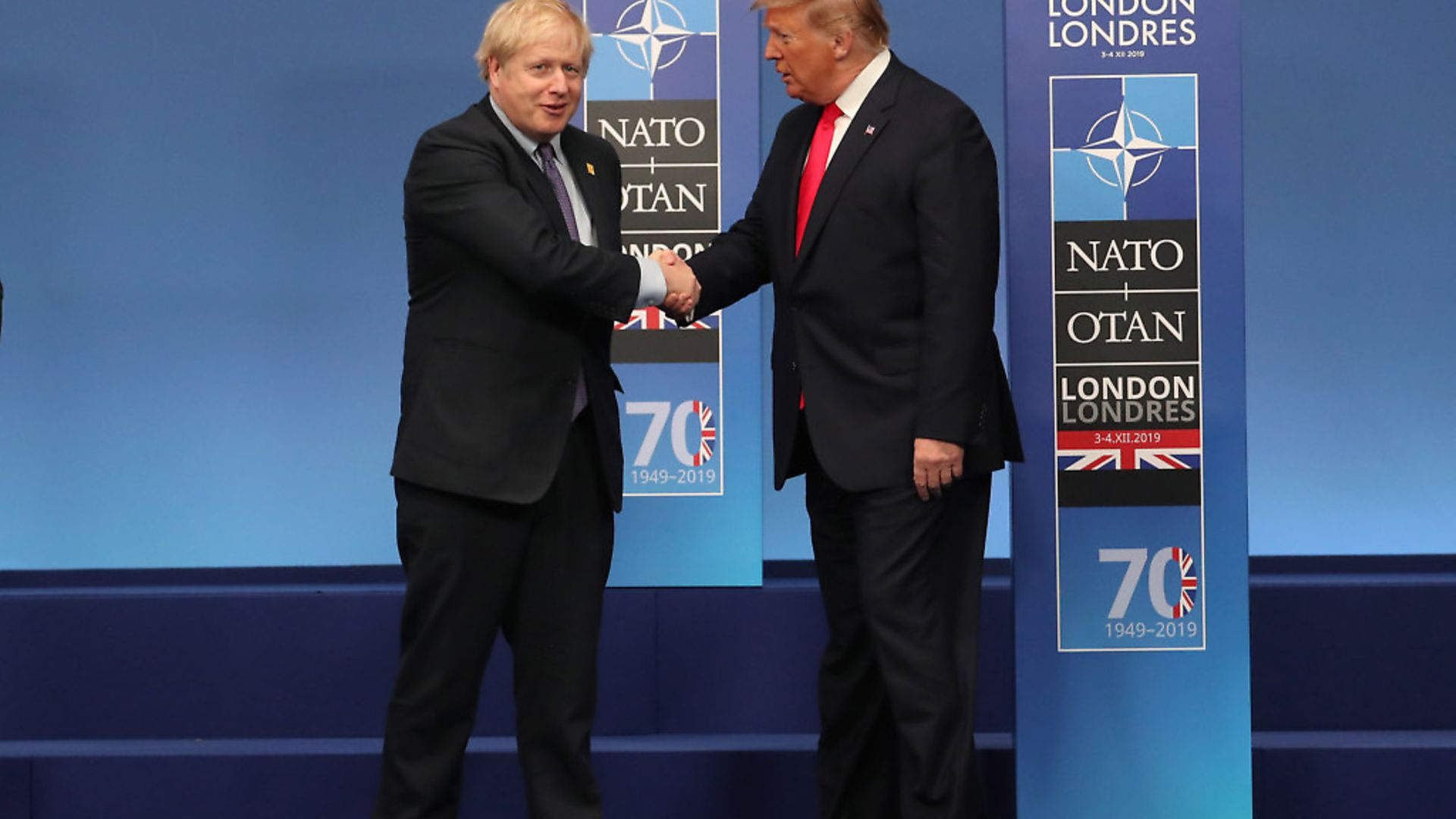 Prime Minister Boris Johnson and US President Donald Trump during the annual Nato heads of government summit. Photograph: Steve Parsons/PA. - Credit: PA Wire/PA Images