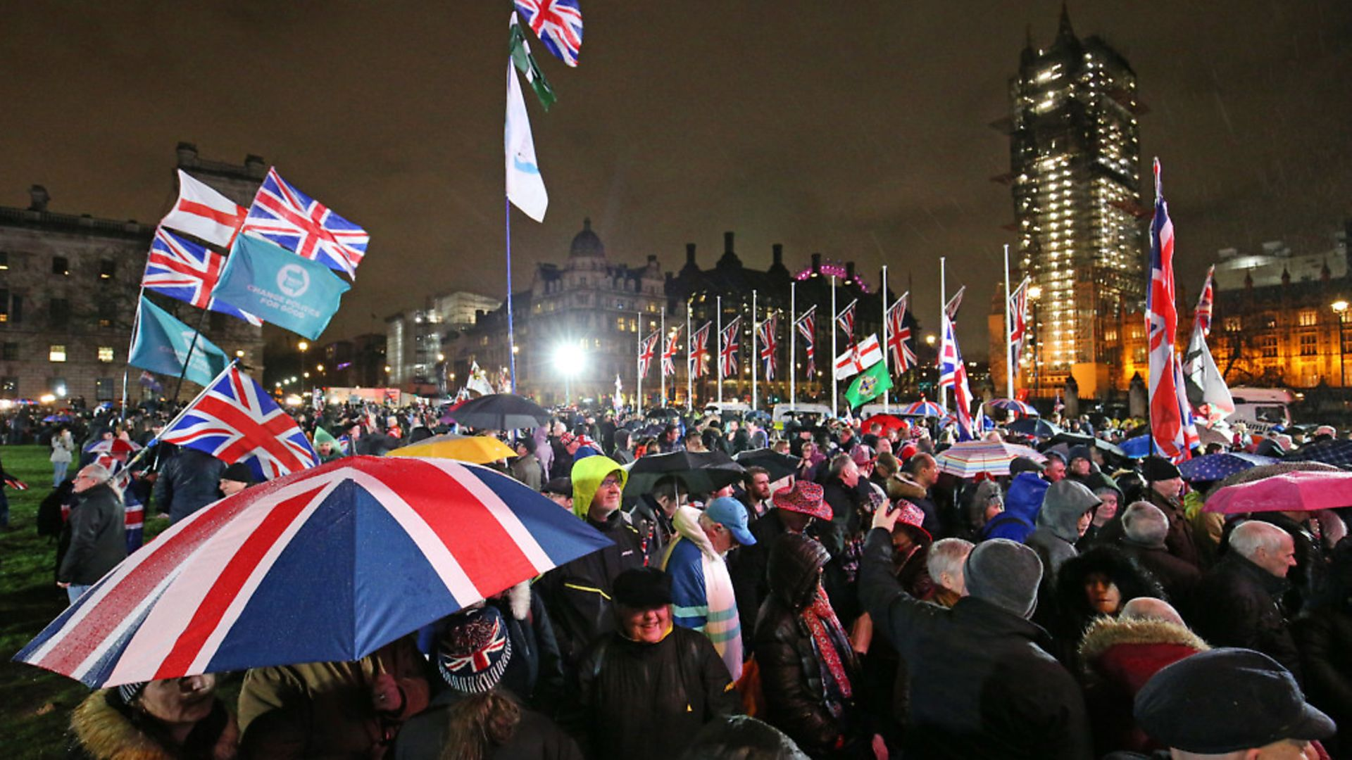 Pro-Brexit supporters in Parliament Square as the UK leaves the European Union. Photograph: Jonathan Brady/PA. - Credit: PA