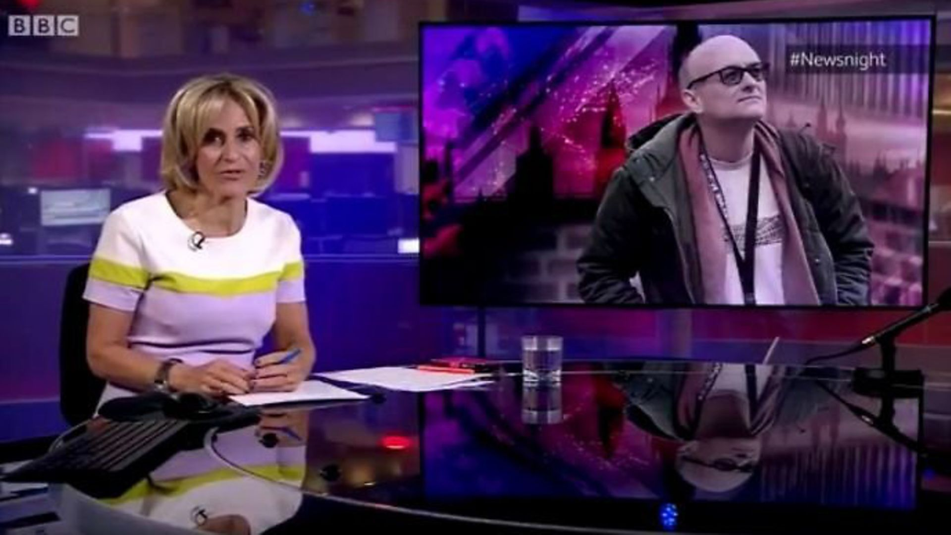 Emily Maitlis introduces BBC Newsnight with a summary of the government's reponse to the Dominic Cummings story. - Credit: BBC