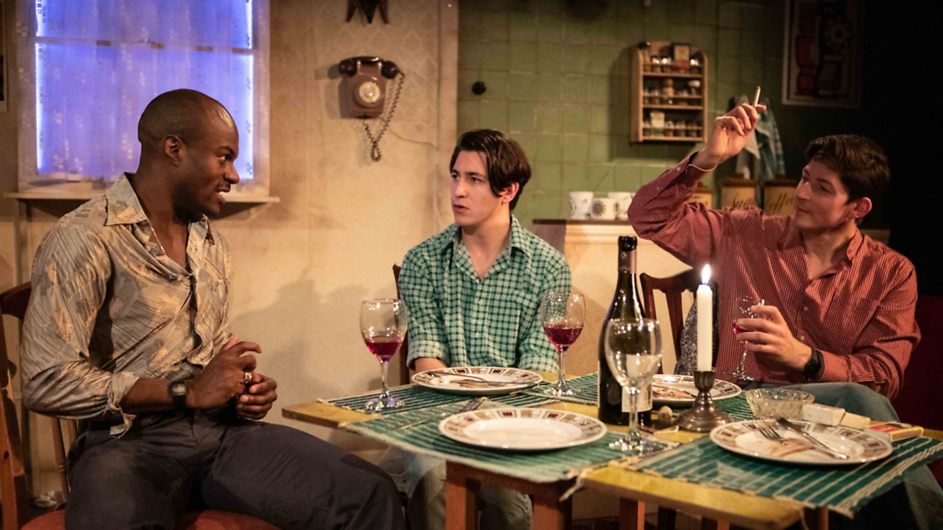 Stanton Plummer-Cambridge as Greg, Jonah Rzeskiewicz as Robert & Lee Knight as Tony in Coming Clean. Photograph: Ali Wright. - Credit: Archant