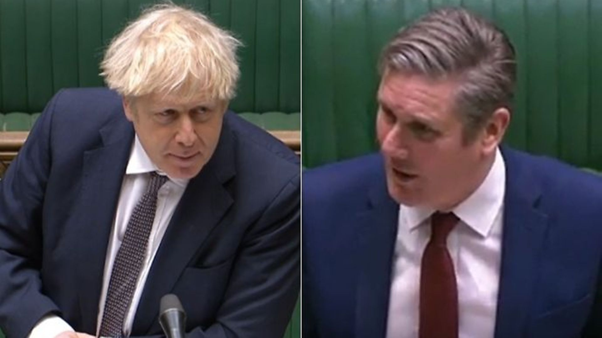 Boris Johnson (L) and Keir Starmer during Prime Minister's Questions - Credit: Parliamentlive.tv