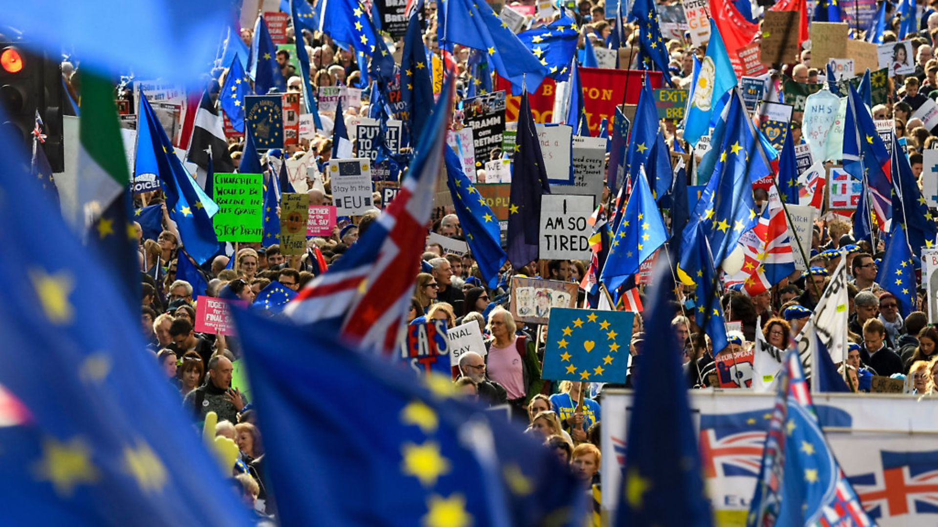 Remainers march against Brexit. Photograph:  NIKLAS HALLE'N/AFP via Getty Images. - Credit: AFP via Getty Images