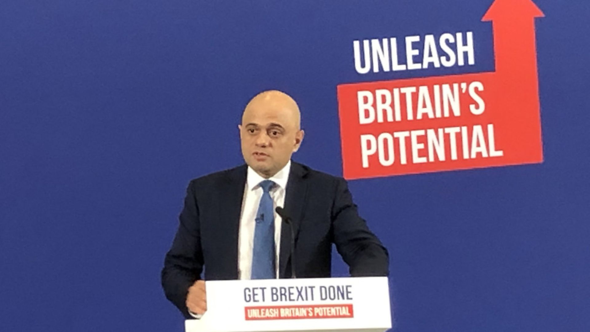 Chancellor of the Exchequer Sajid Javid talking to Conservative Party suporters on the election campaign trail. Photograph: Tom WIlkinson/PA. - Credit: PA Wire/PA Images
