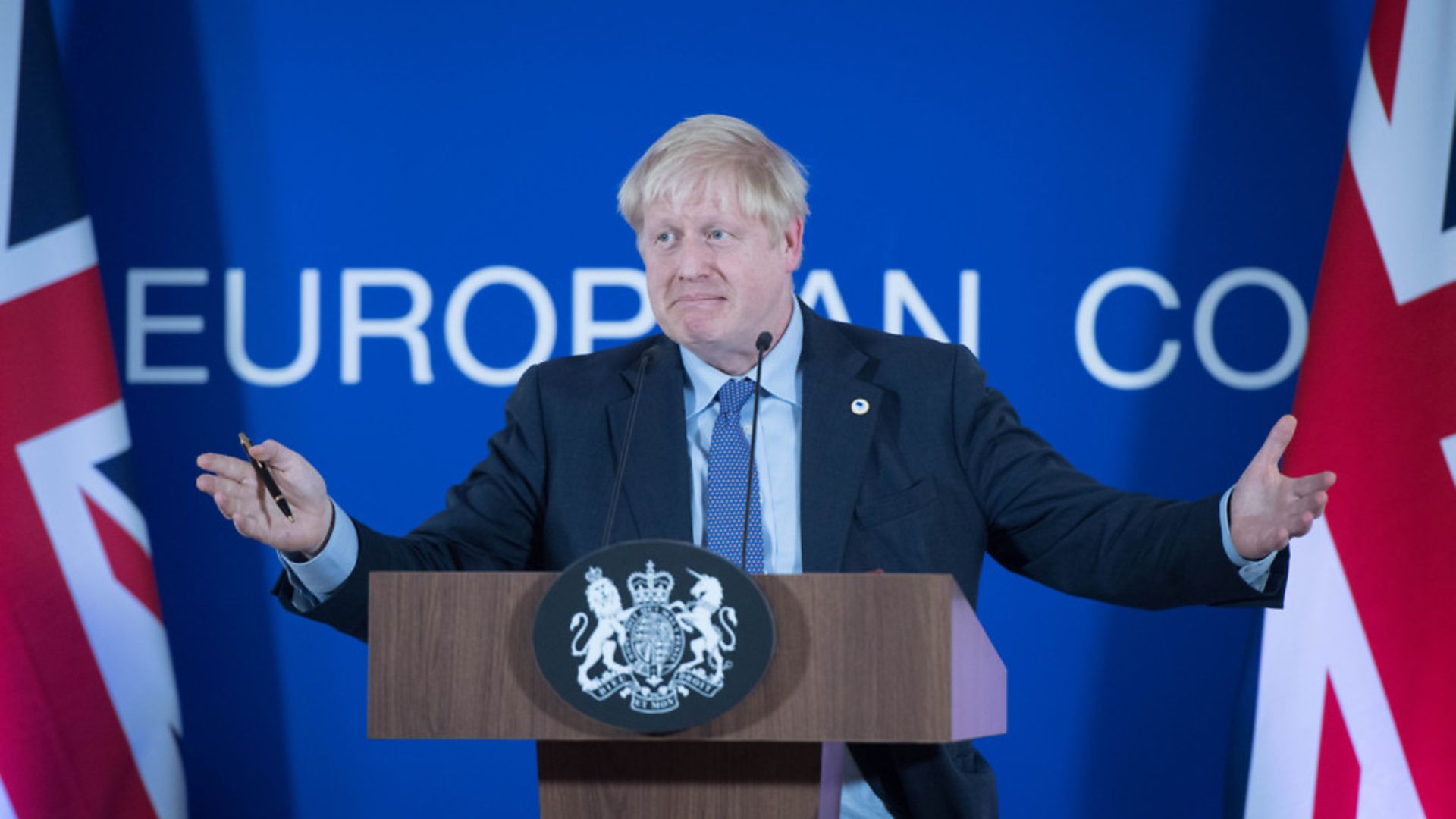 Boris Johnson speaking at a European Council summit at EU headquarters in Brussels. - Credit: PA