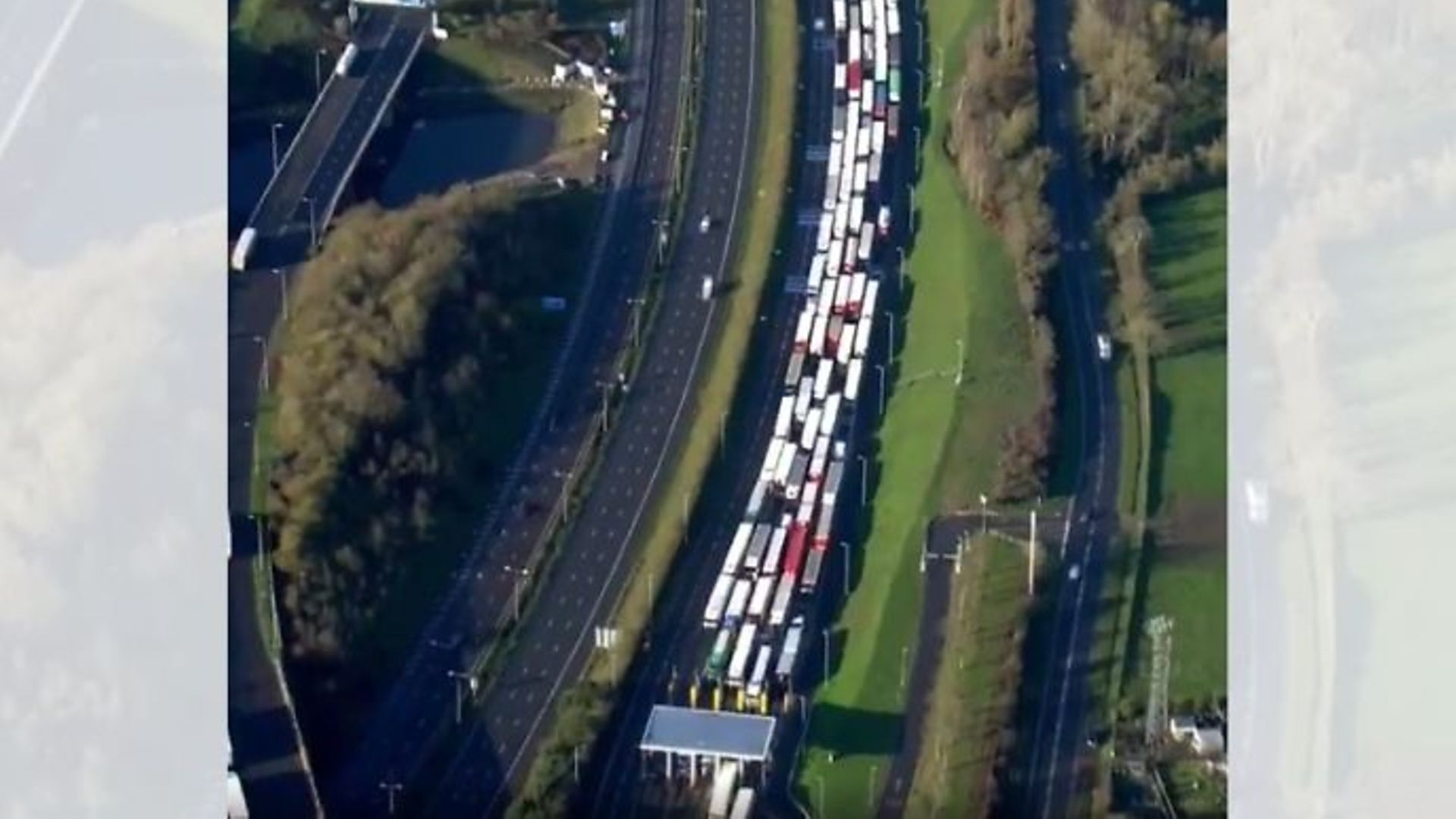 Picture of lorry queue down the M20 for mile upon mile at the entrance of the Eurotunnel in Folkestone - Credit: Twitter, Sky News