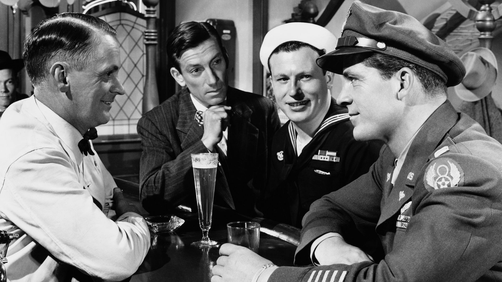Hoagy Carmichael as Uncle Butch, Harold Russell as Homer Parrish, and Dana Andrews as Fred Derry in the 1946 film The Best Years of Our Lives - Credit: Corbis via Getty Images