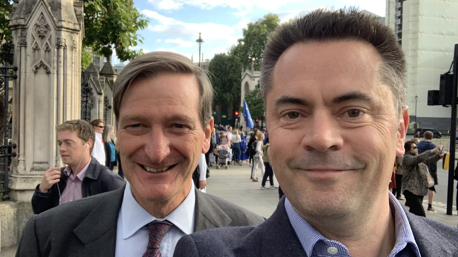 Richard Scott (R) poses for a picture with one of his political idols, former MP Dominic Grieve (L). - Credit: Richard Scott