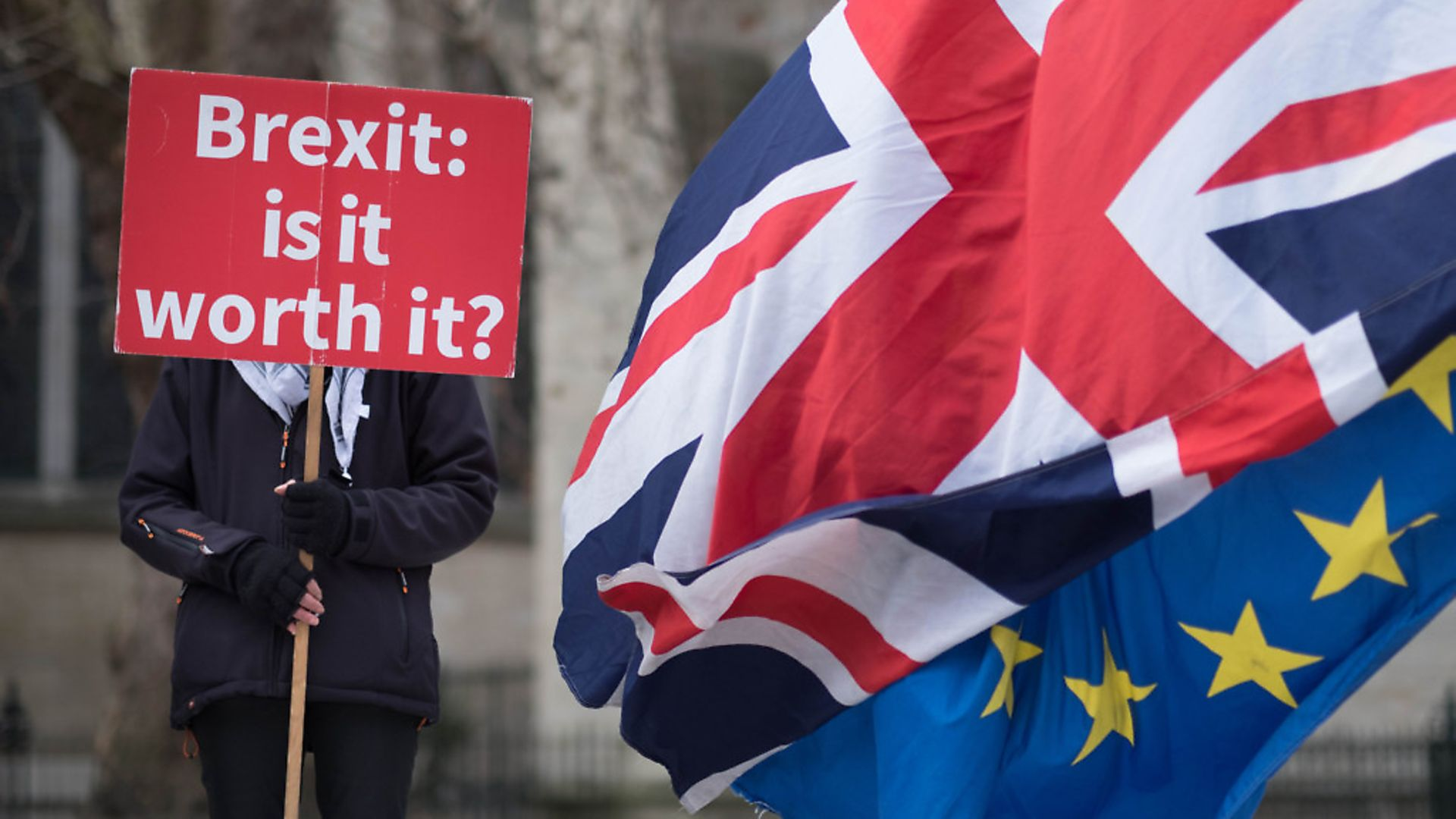 Anti Brexit demonstrators outside the Houses of Parliament in London. Photograph: Stefan Rousseau/PA. - Credit: PA Archive/PA Images