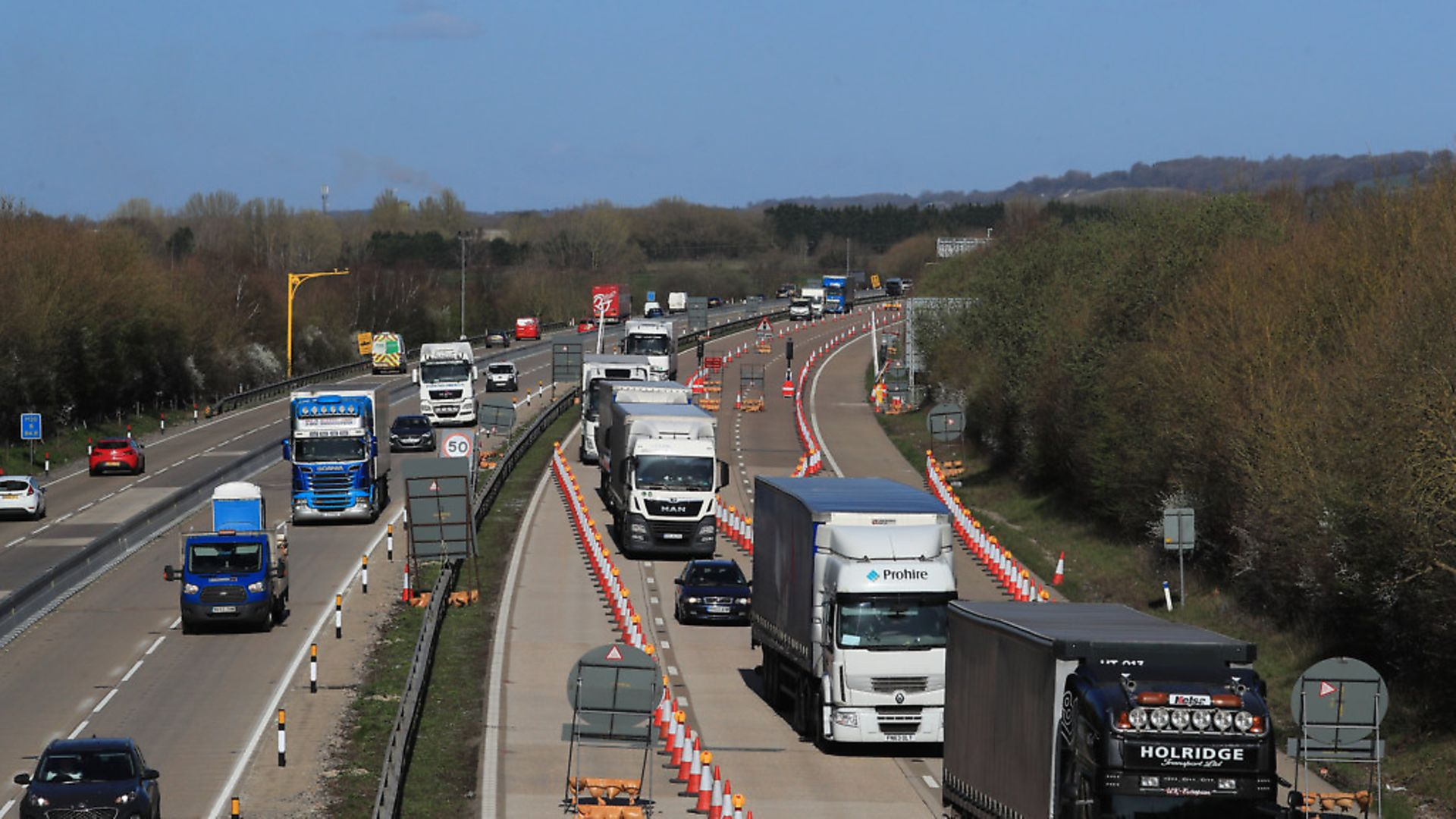 A view of the M20 motorway near Ashford in Kent. Photograph: Gareth Fuller/PA. - Credit: PA