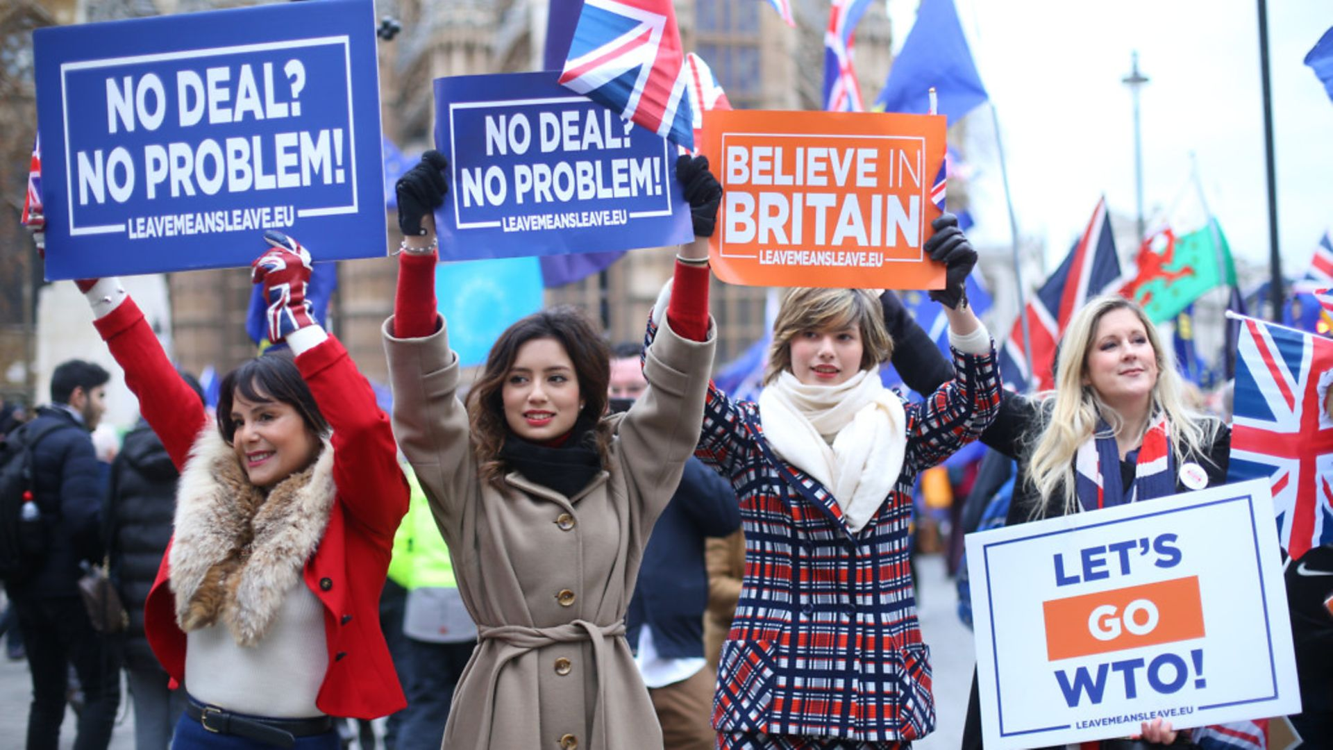 Pro-Brexit supporters advocate a no-deal Brexit outside the Houses of Parliament - Credit: PA Wire/PA Images