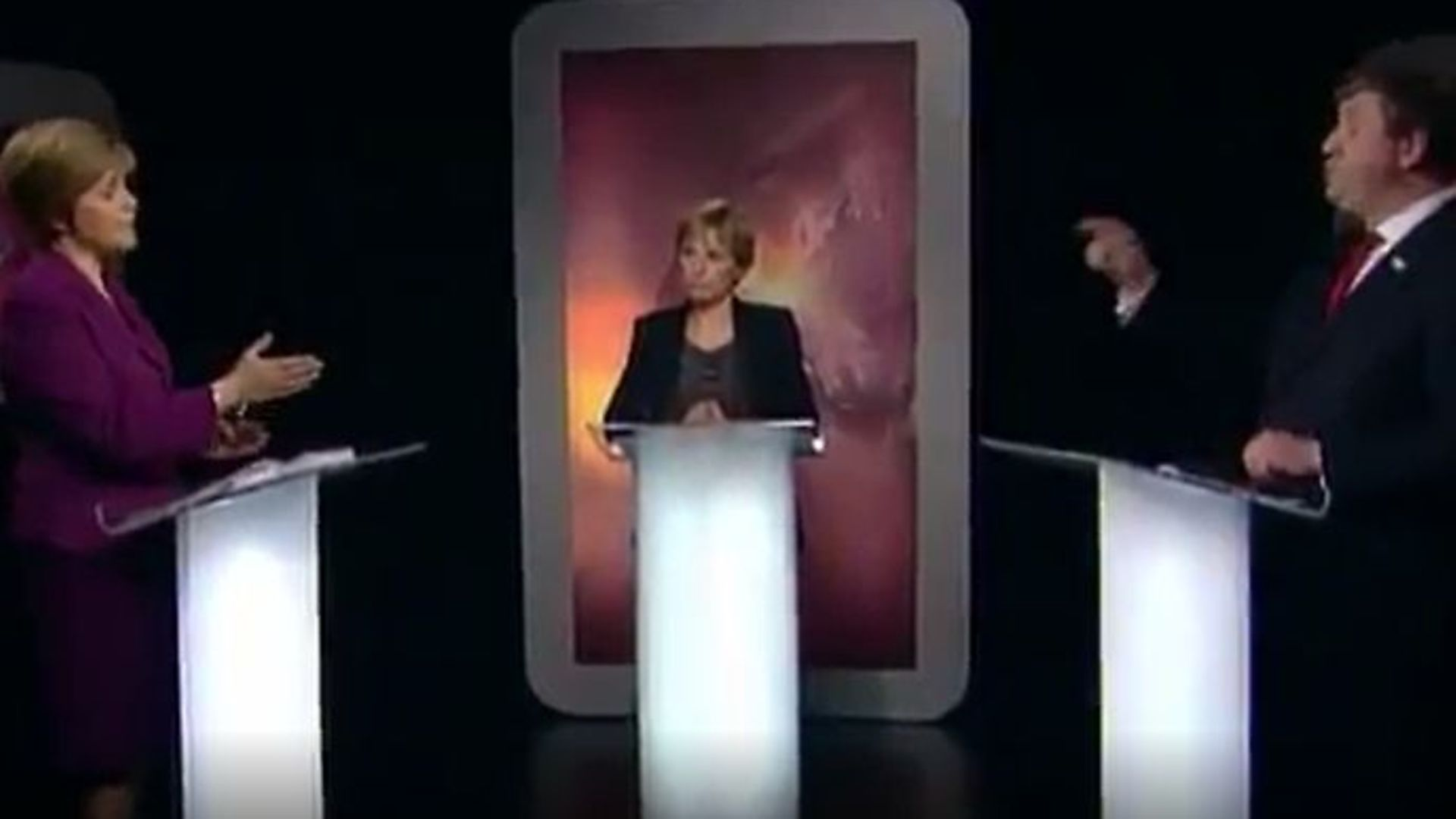 Nicola Sturgeon and Alistair Carmichael during a 2014 debate on Scottish independence - Credit: Twitter