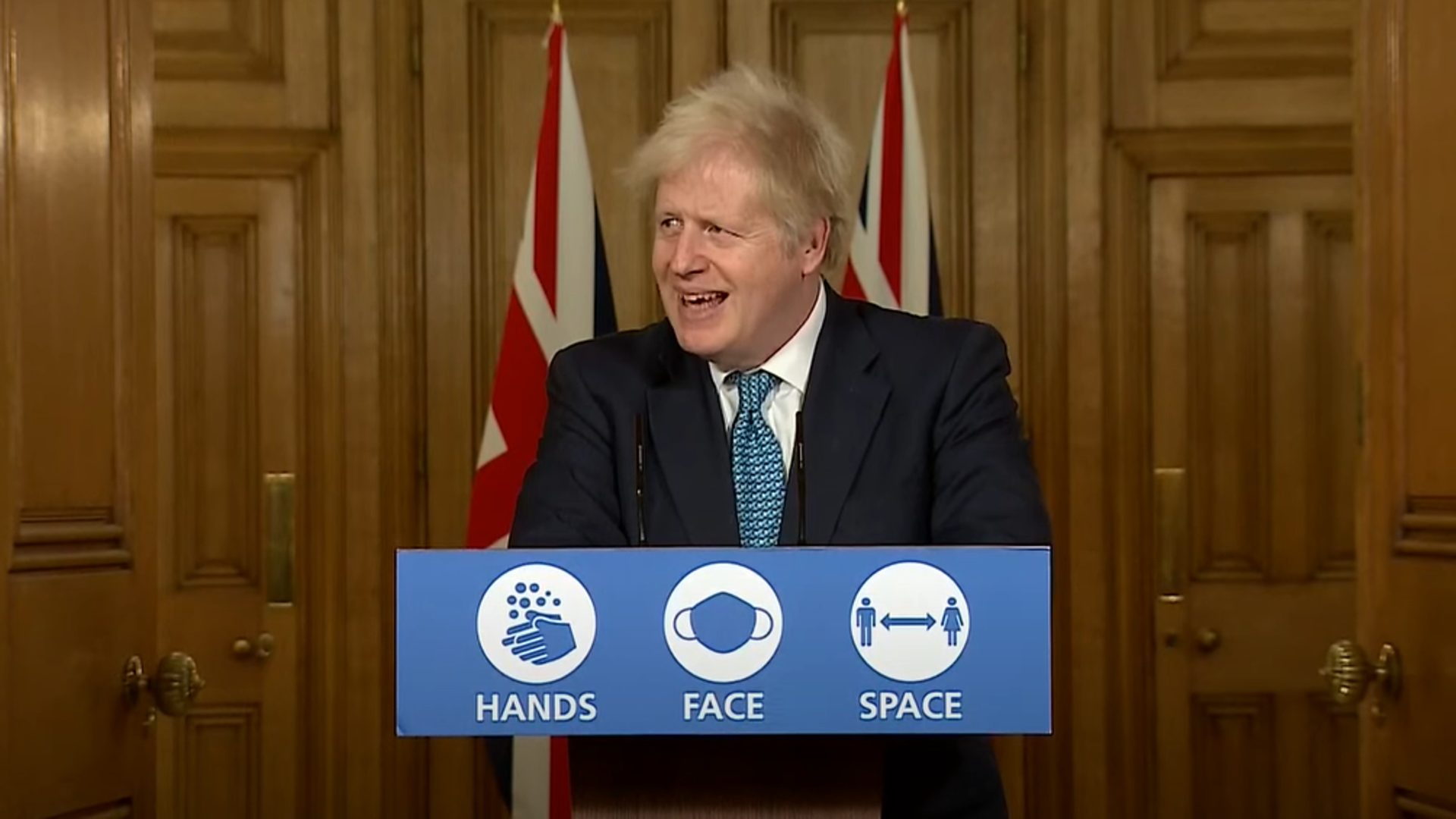 Boris Johnson laughs when asked if UK will get a Brexit deal - Credit: YouTube