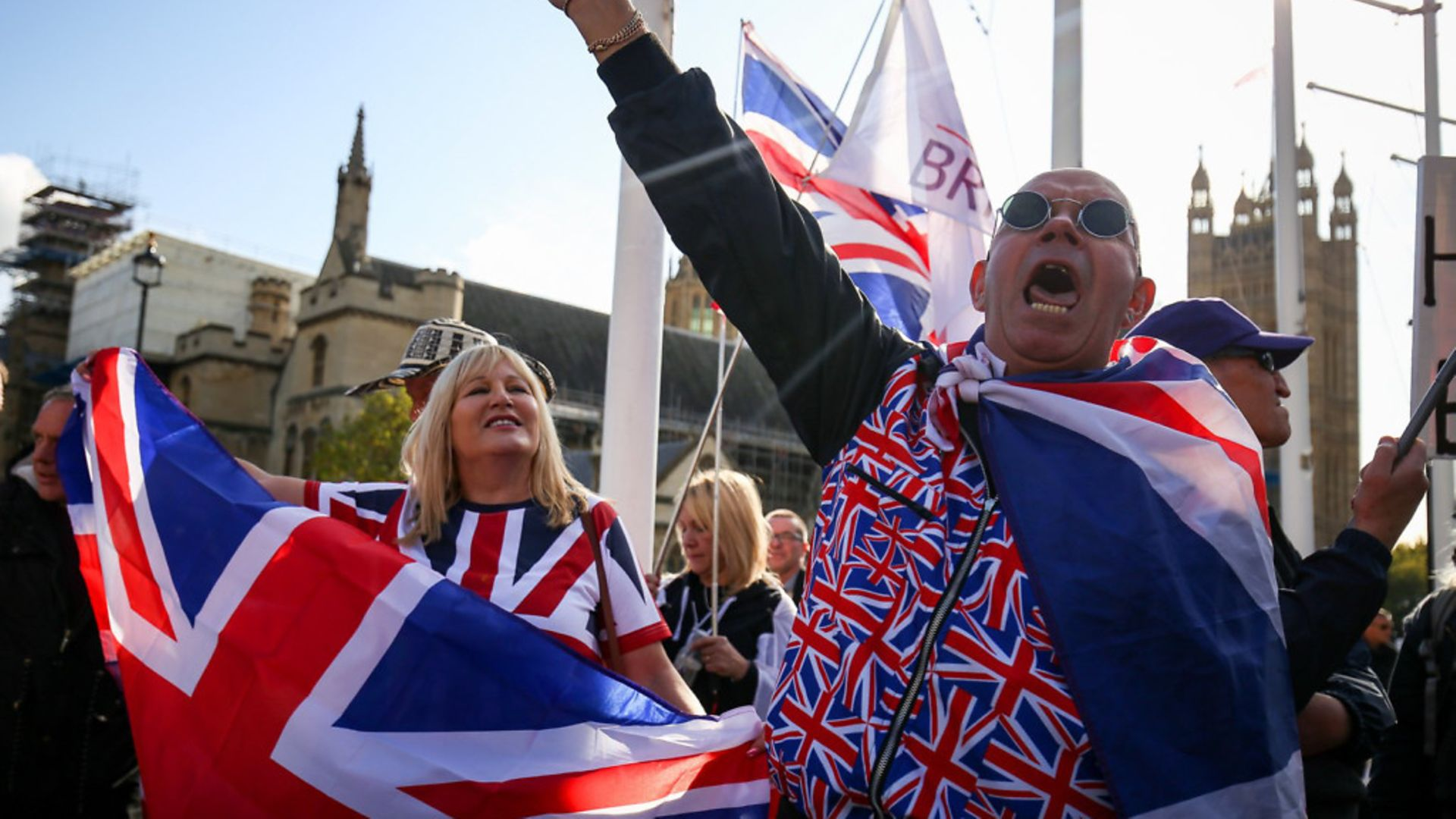 Pro Brexit supporters outside parliament - Credit: Jacob King/PA