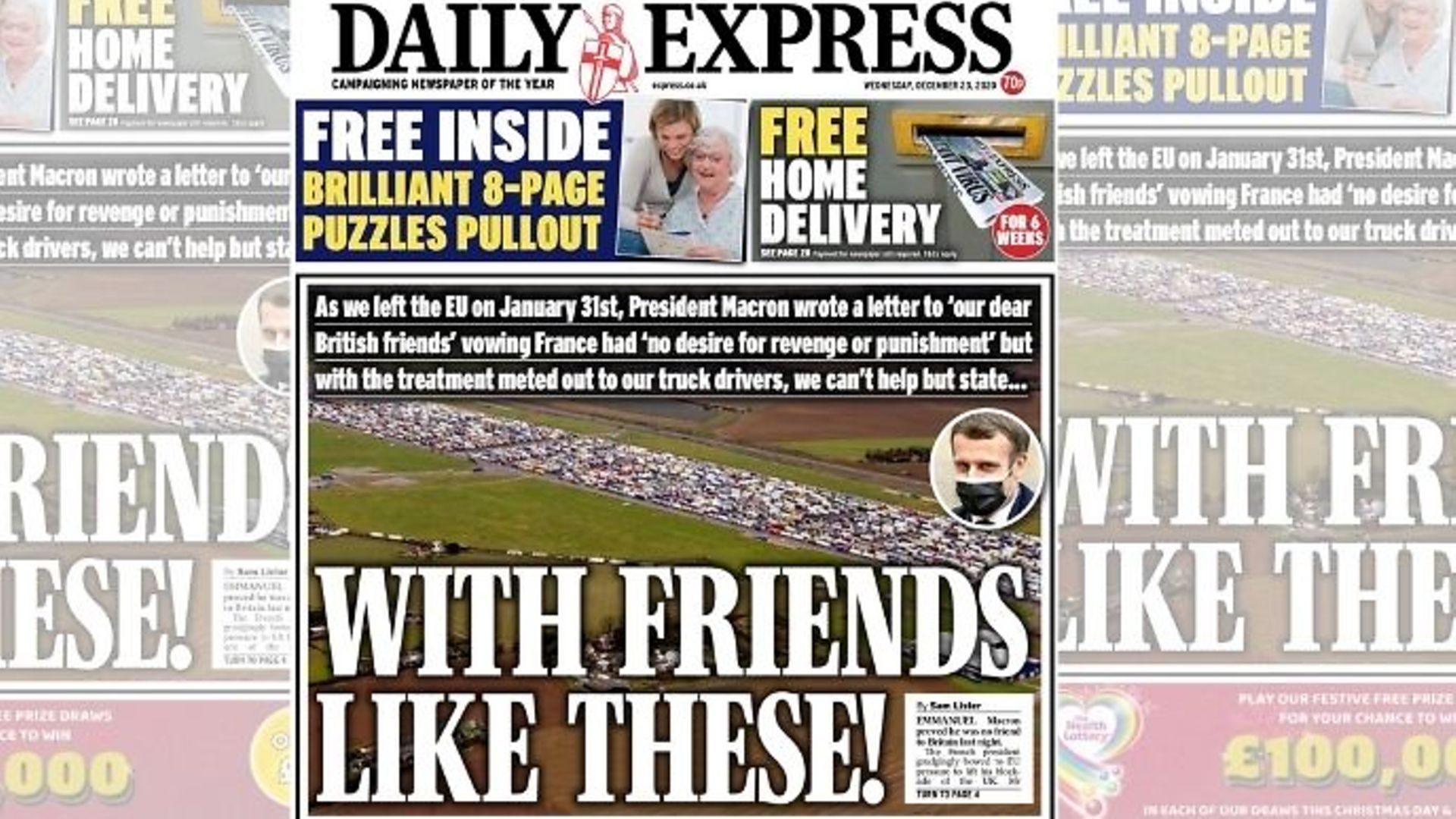 Daily Express front page - Credit: Twitter