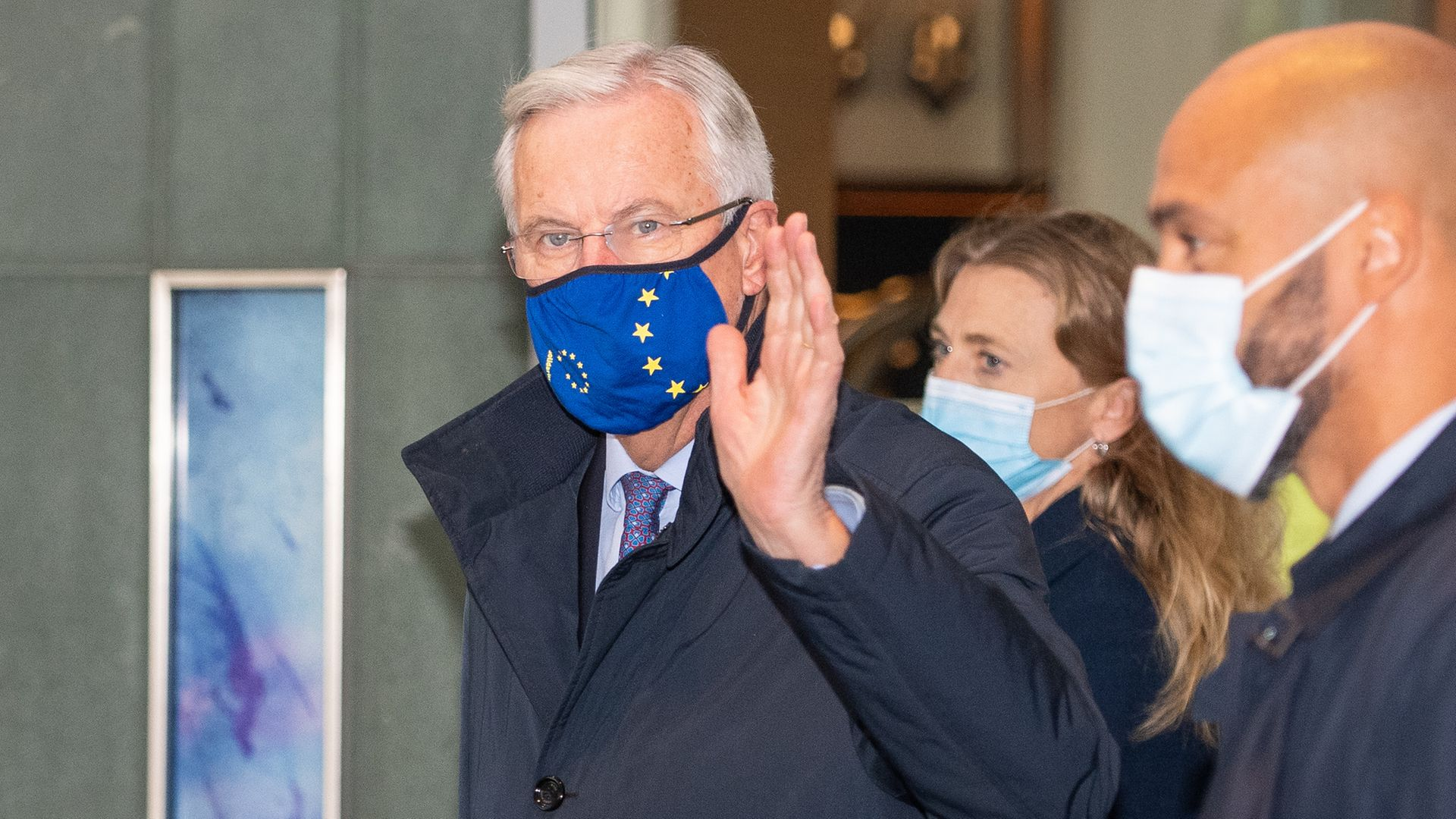 EU's chief negotiator Michel Barnier walking with other members of the EU delegation - Credit: PA