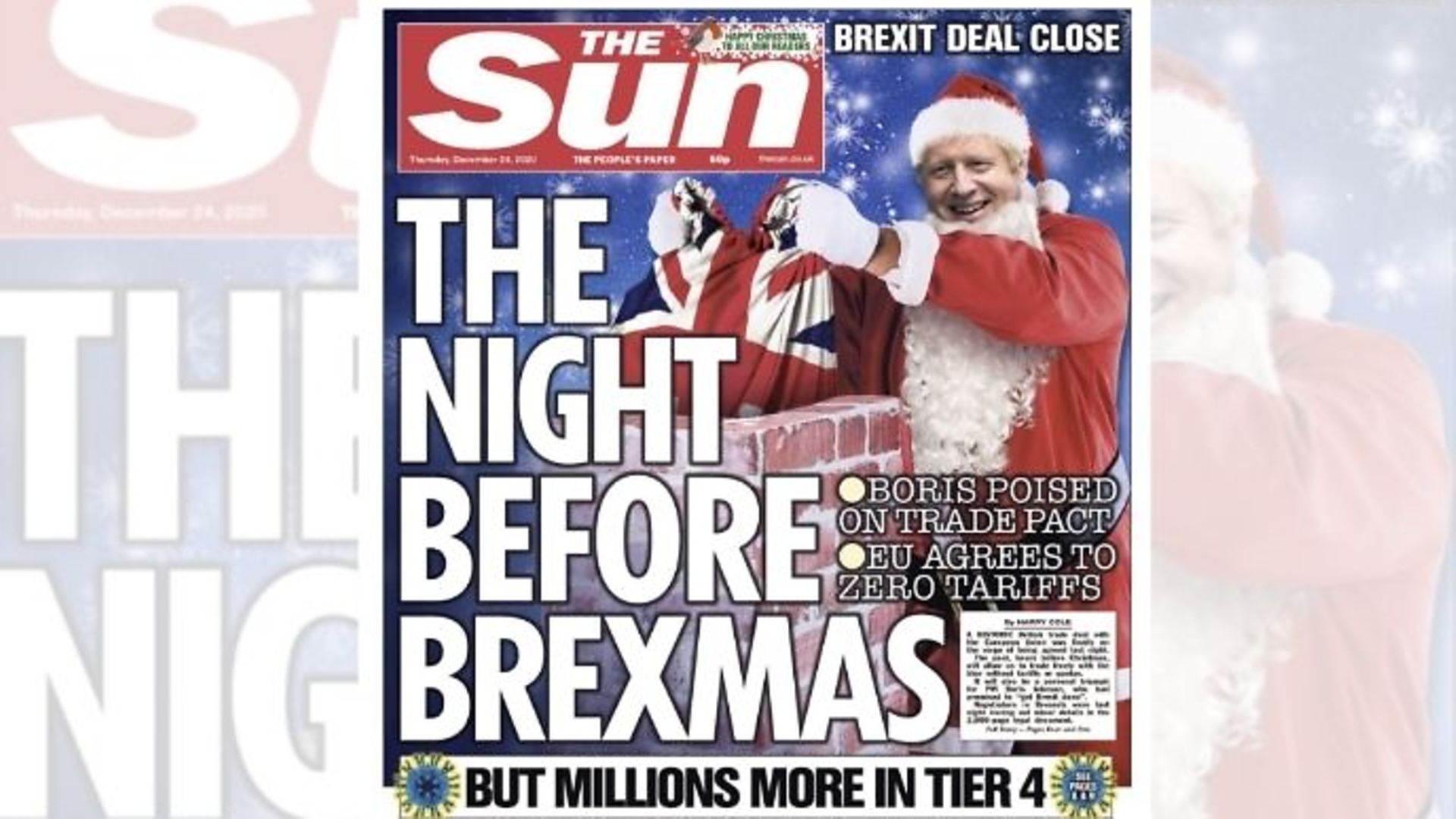 The Sun's Christmas Eve front cover - Credit: Twitter
