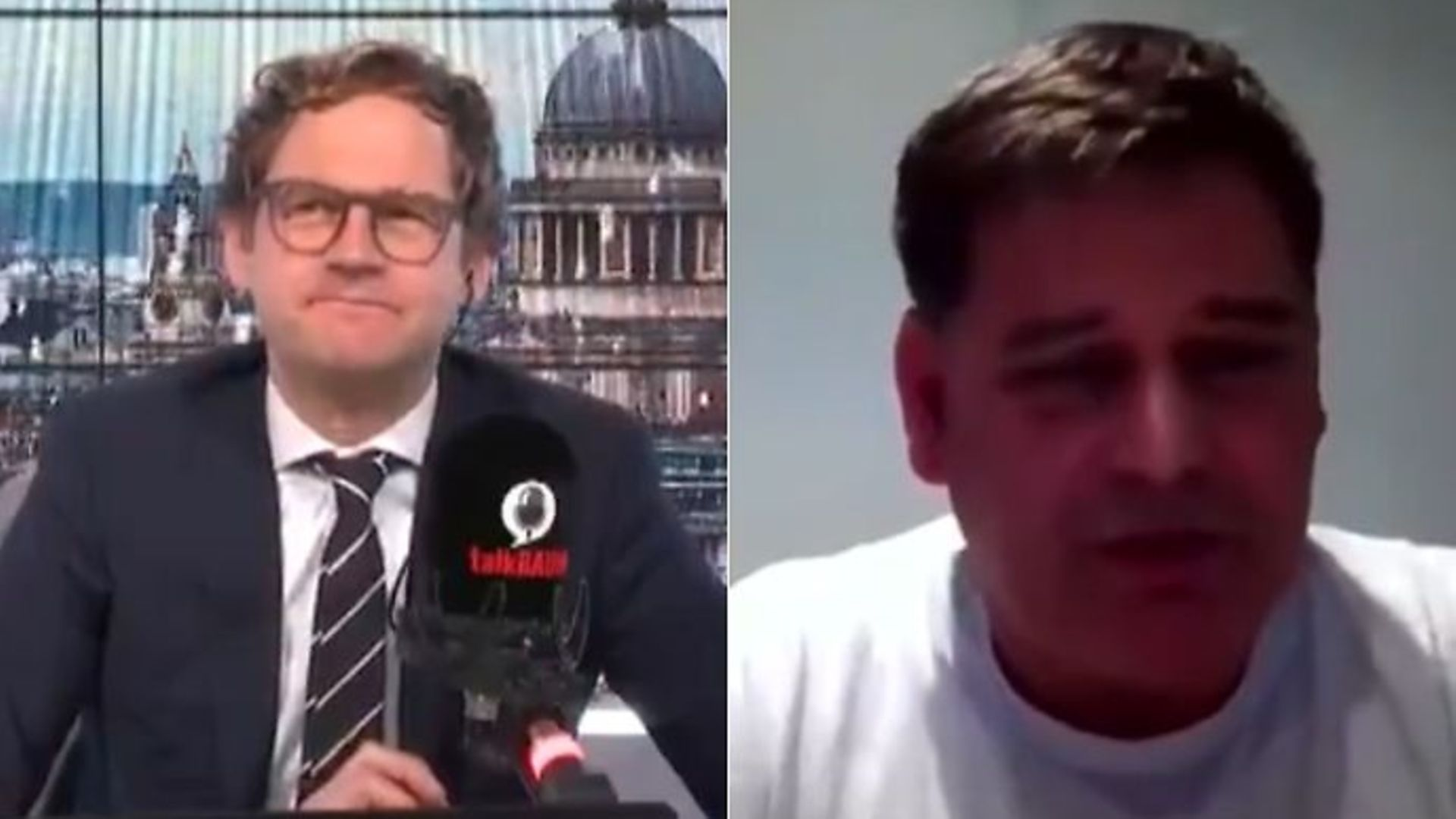 talkRADIO presenter Mark Dolan (L) and Brexiteer MP Andrew Bridgen - Credit: Twitter